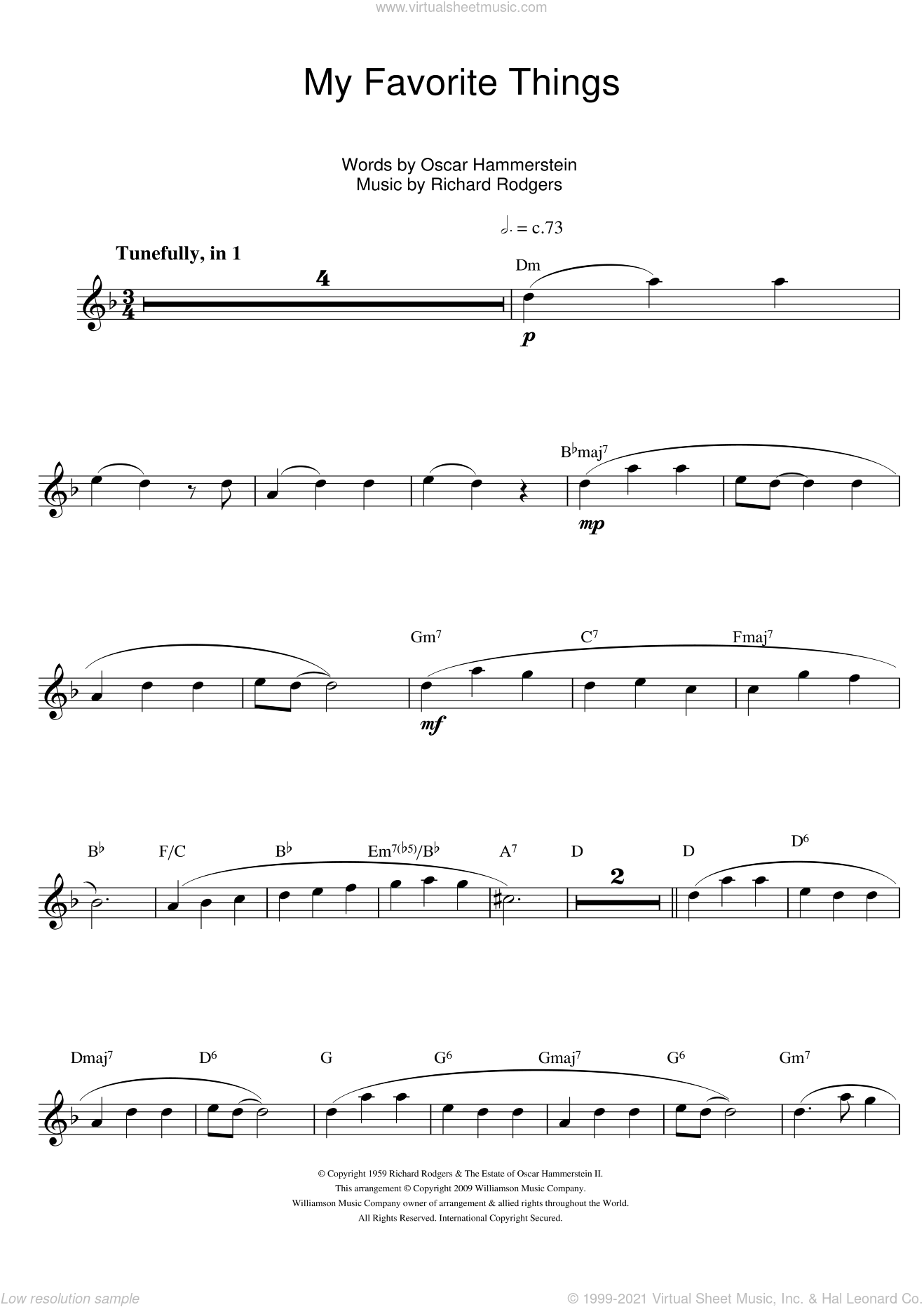 My Favorite Things (from The Sound Of Music) sheet music for flute solo by Rodgers & Hammerstein, Richard Rodgers and Oscar II Hammerstein, intermediate skill level