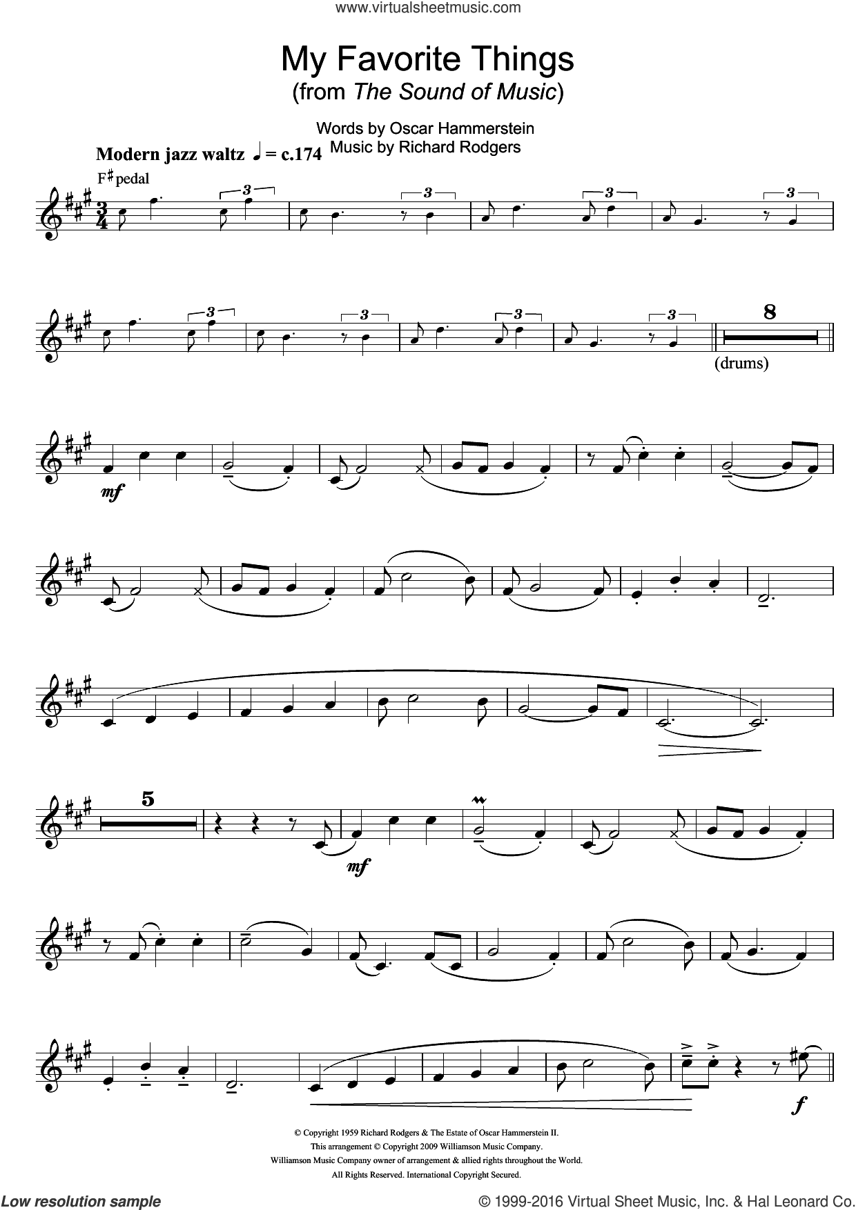 My Favorite Things (from The Sound Of Music) sheet music for trumpet solo by Rodgers & Hammerstein, Richard Rodgers and Oscar II Hammerstein, intermediate skill level