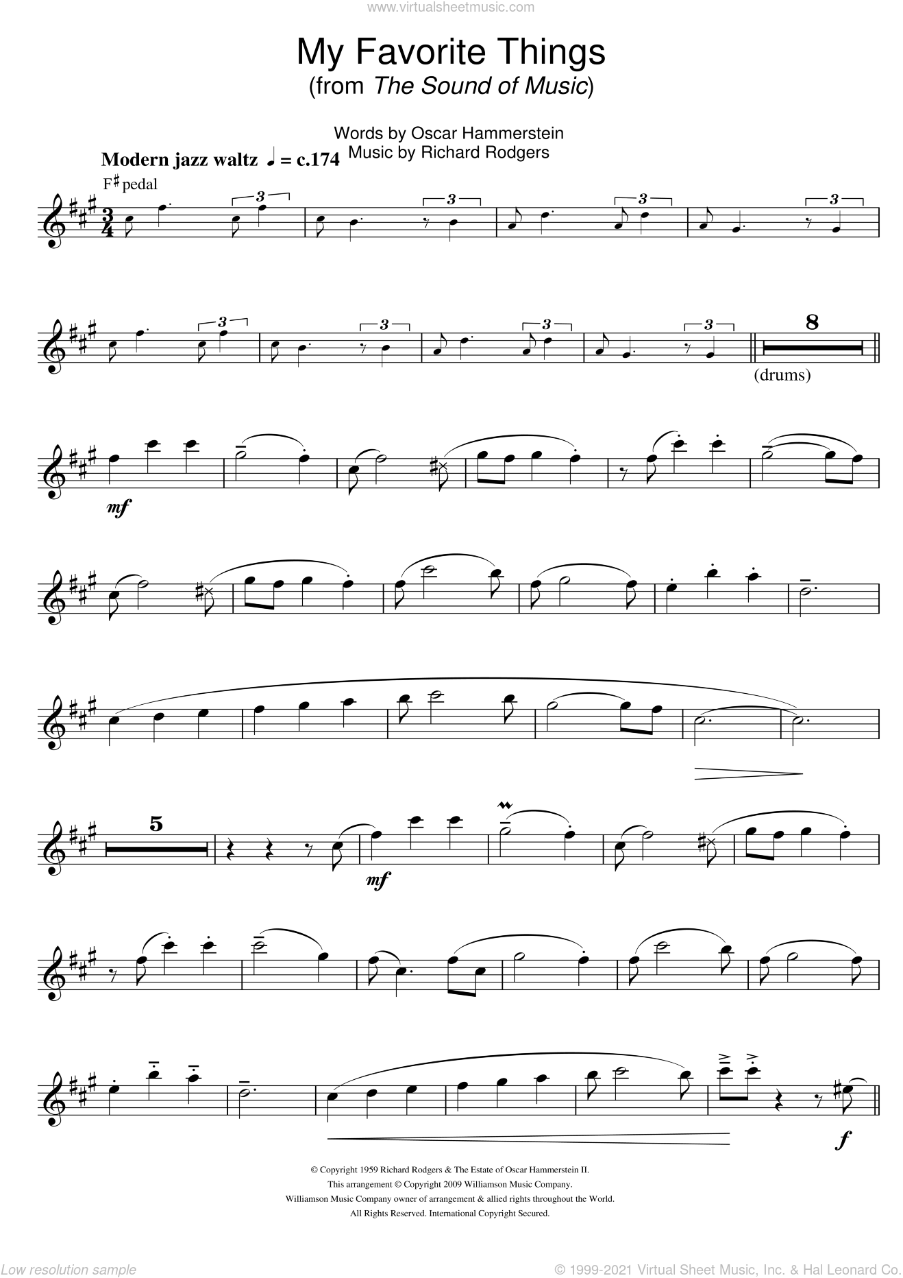 My Favorite Things (from The Sound Of Music) sheet music for tenor saxophone solo by Rodgers & Hammerstein, Richard Rodgers and Oscar II Hammerstein, intermediate skill level