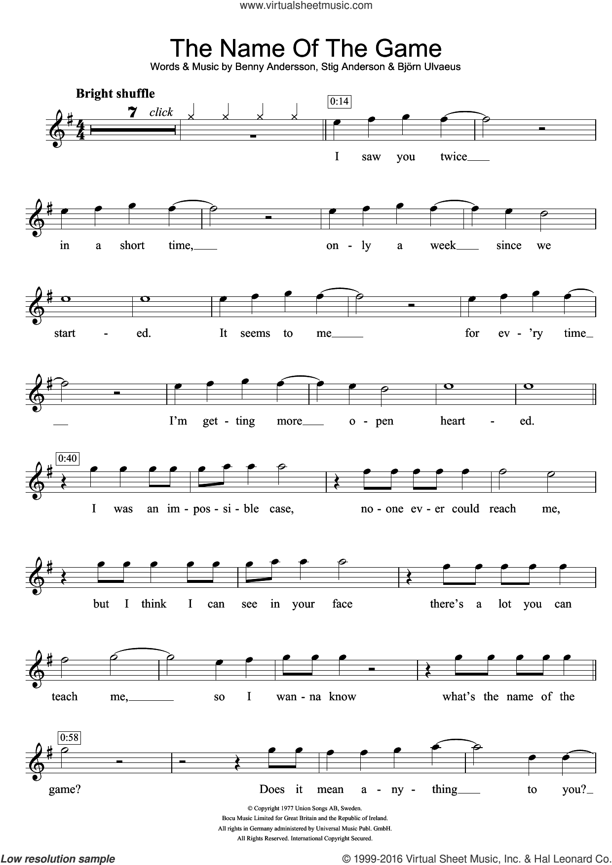 The Name Of The Game sheet music for violin solo by Stig Anderson, ABBA, Benny Andersson and Bjorn Ulvaeus. Score Image Preview.