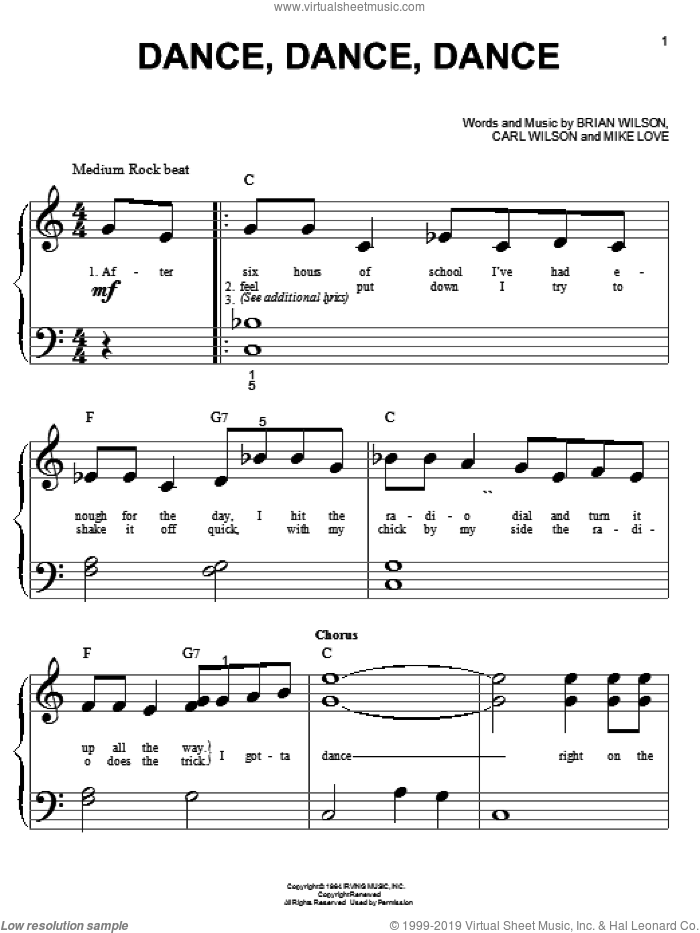 Dance, Dance, Dance sheet music for piano solo (big note book) by The Beach Boys and Brian Wilson, easy piano (big note book). Score Image Preview.