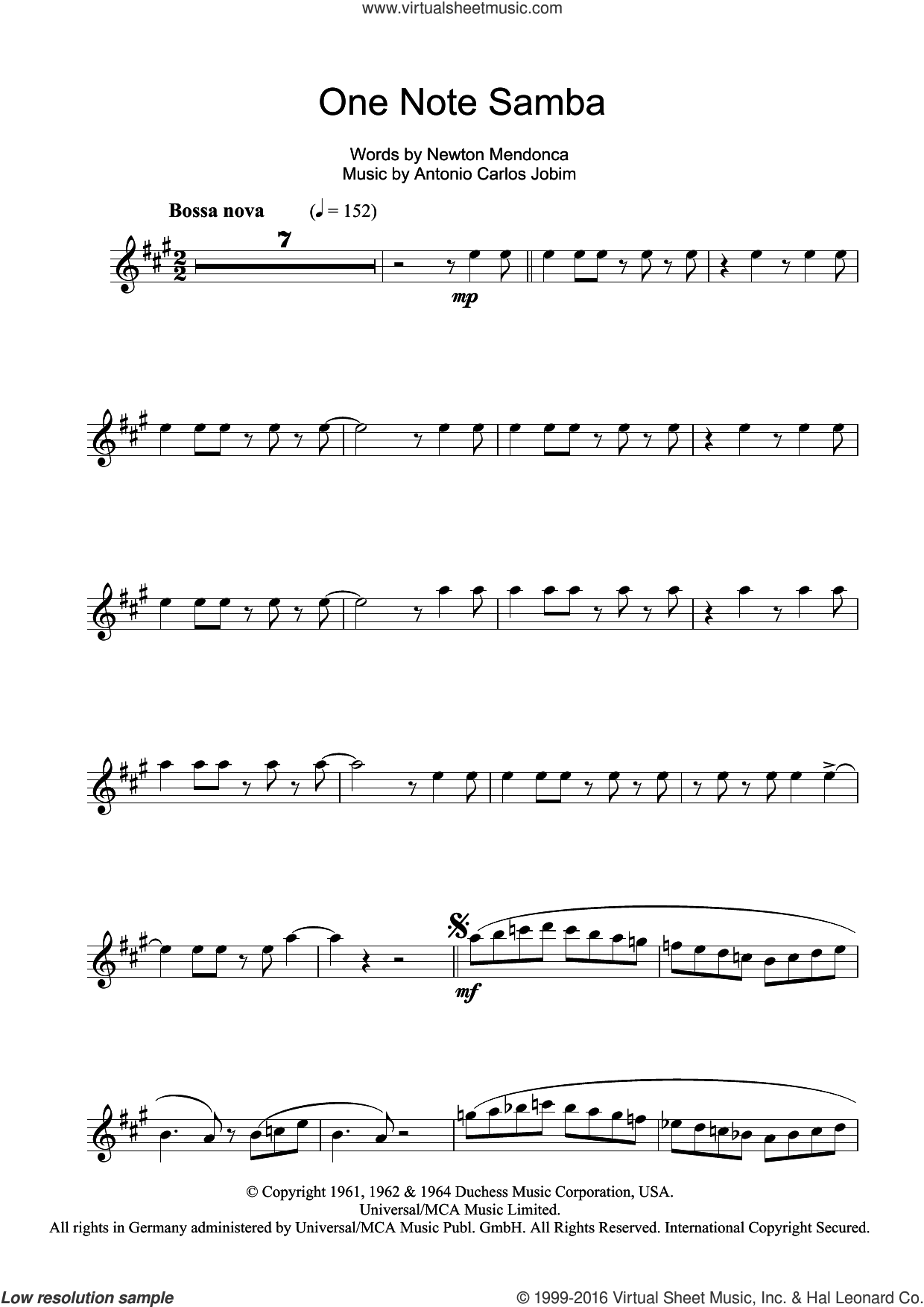 One Note Samba (Samba De Uma Nota) sheet music for tenor saxophone solo by Antonio Carlos Jobim and Newton Mendonca, intermediate skill level