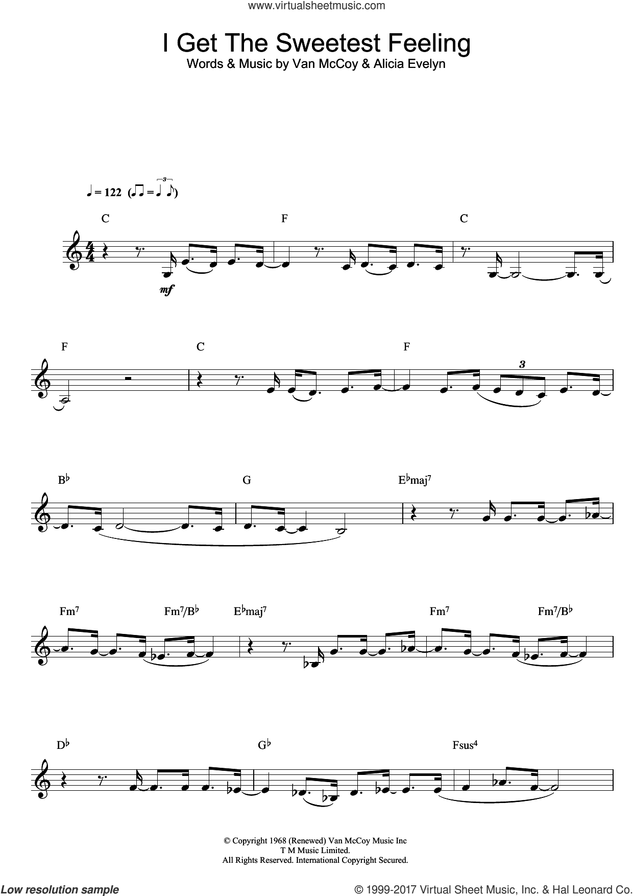 I Get The Sweetest Feeling sheet music for clarinet solo by Jackie Wilson, Alicia Evelyn and Van McCoy, intermediate skill level