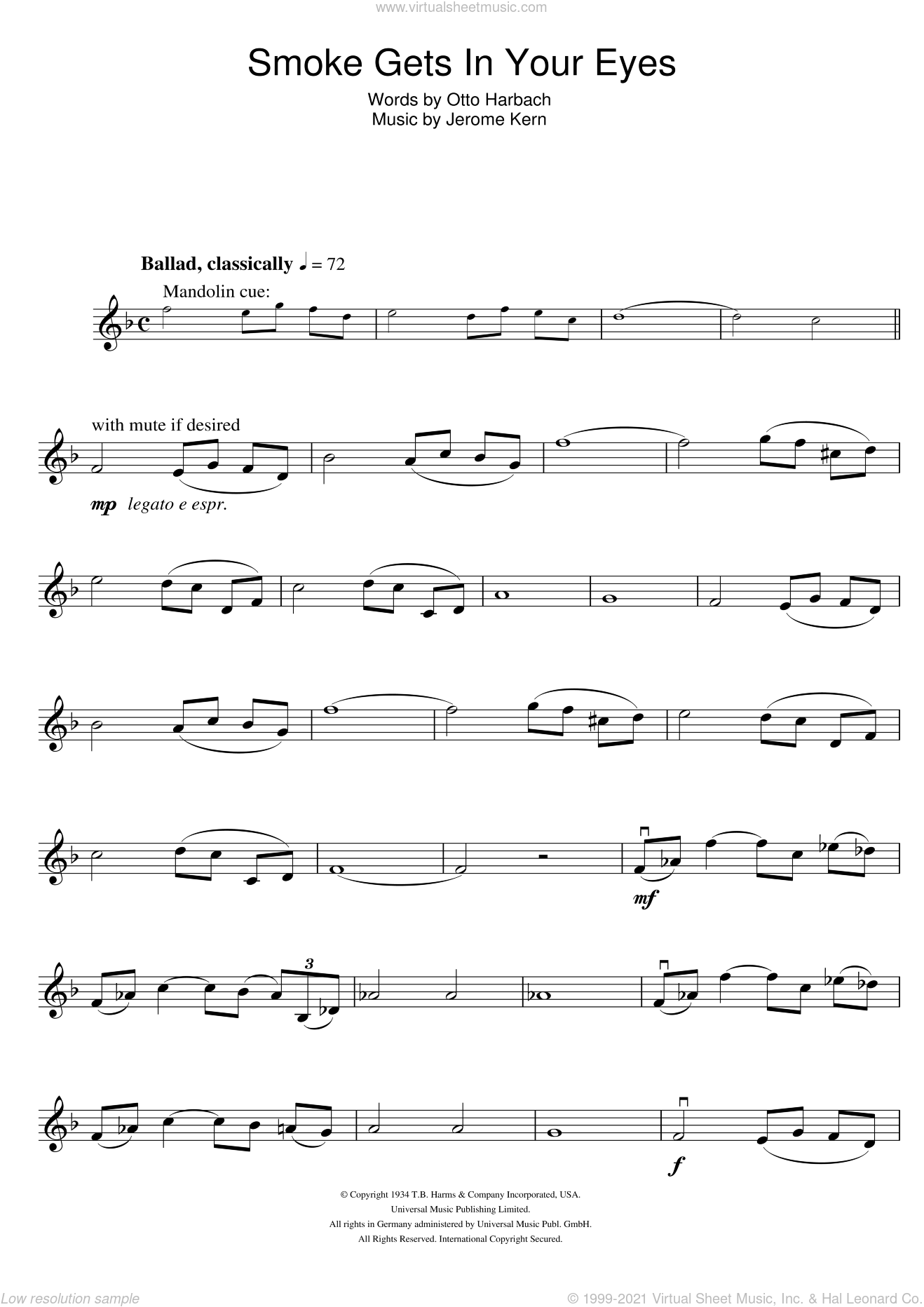 Smoke Gets In Your Eyes sheet music for violin solo by Otto Harbach and Jerome Kern. Score Image Preview.