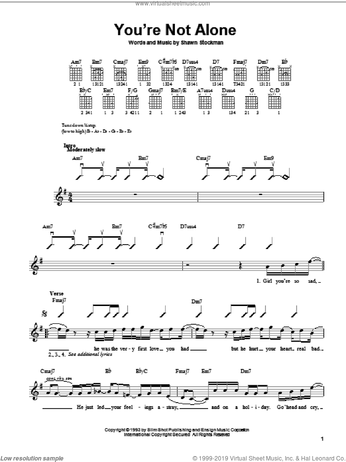 You're Not Alone sheet music for guitar solo (chords) by Shawn Stockman and Boyz II Men. Score Image Preview.