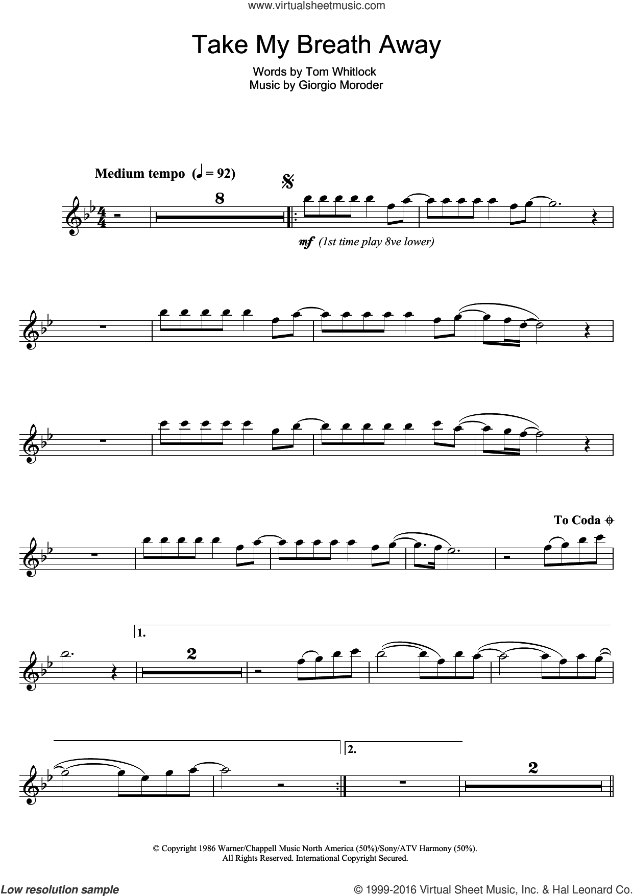 Take My Breath Away sheet music for clarinet solo by Giorgio Moroder, Irving Berlin and Tom Whitlock, intermediate skill level