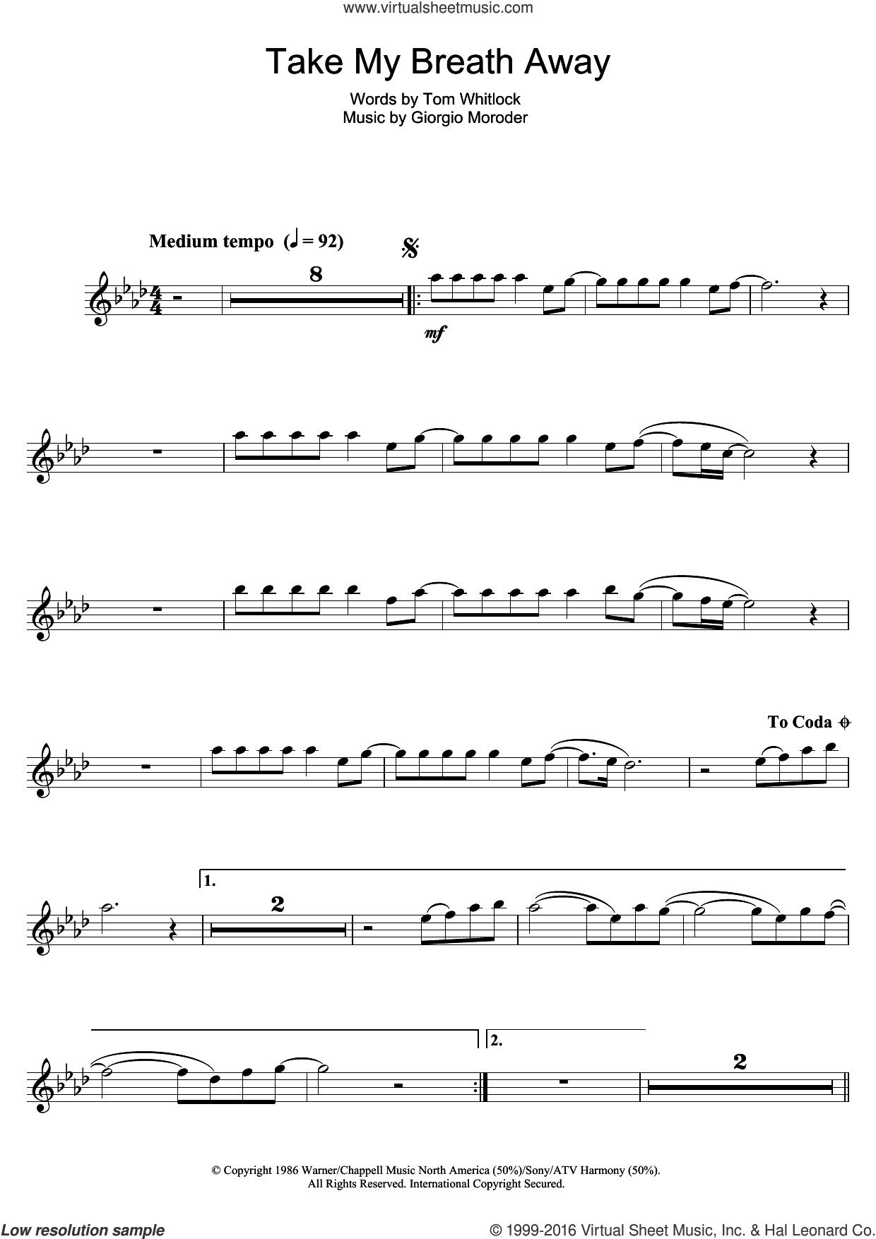 Moroder Take My Breath Away Sheet Music For Flute Solo V2