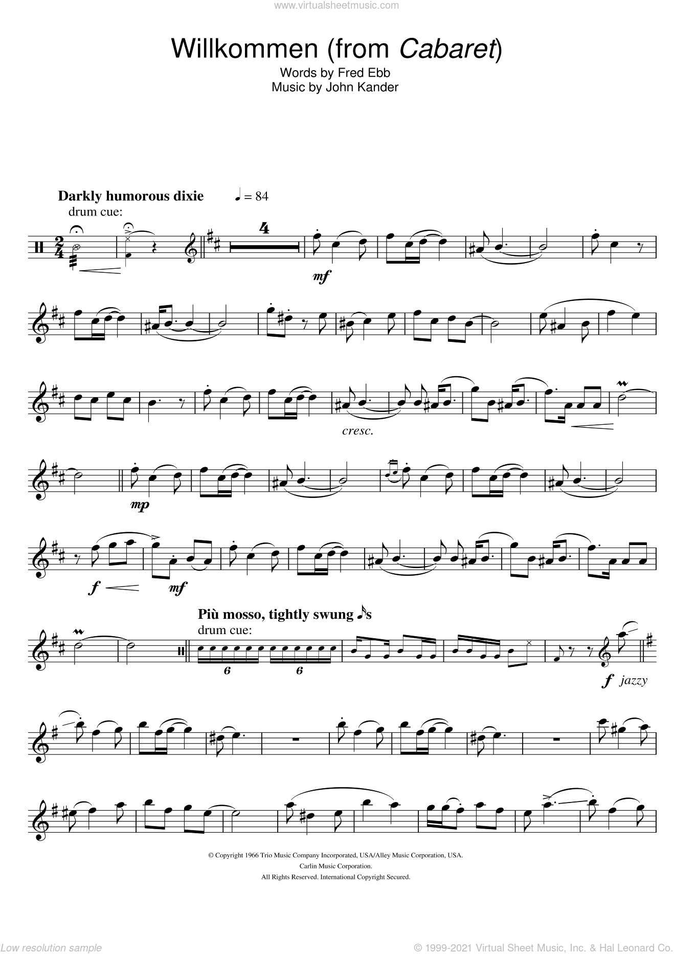 Willkommen (from Cabaret) sheet music for tenor saxophone solo by Kander & Ebb, Fred Ebb and John Kander, intermediate skill level