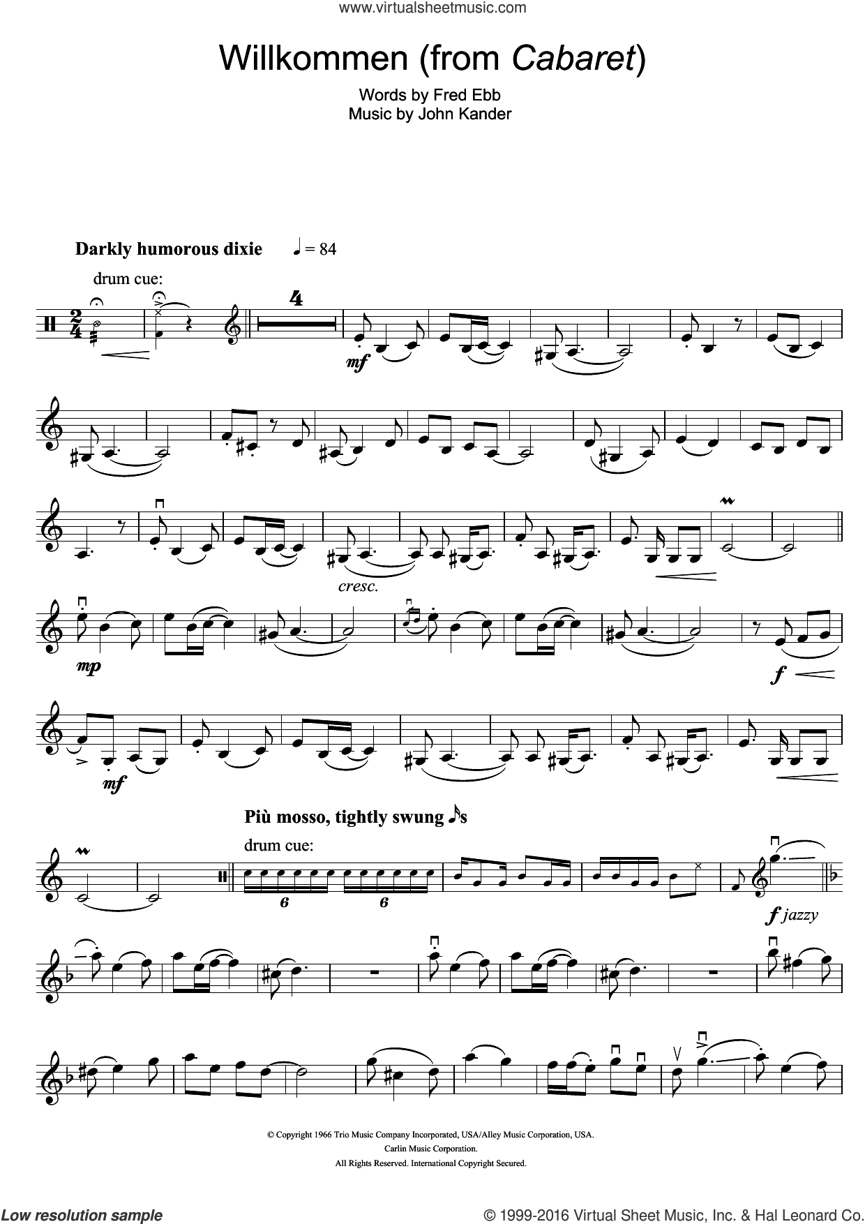 Willkommen (from Cabaret) sheet music for violin solo by Kander & Ebb, Fred Ebb and John Kander, intermediate