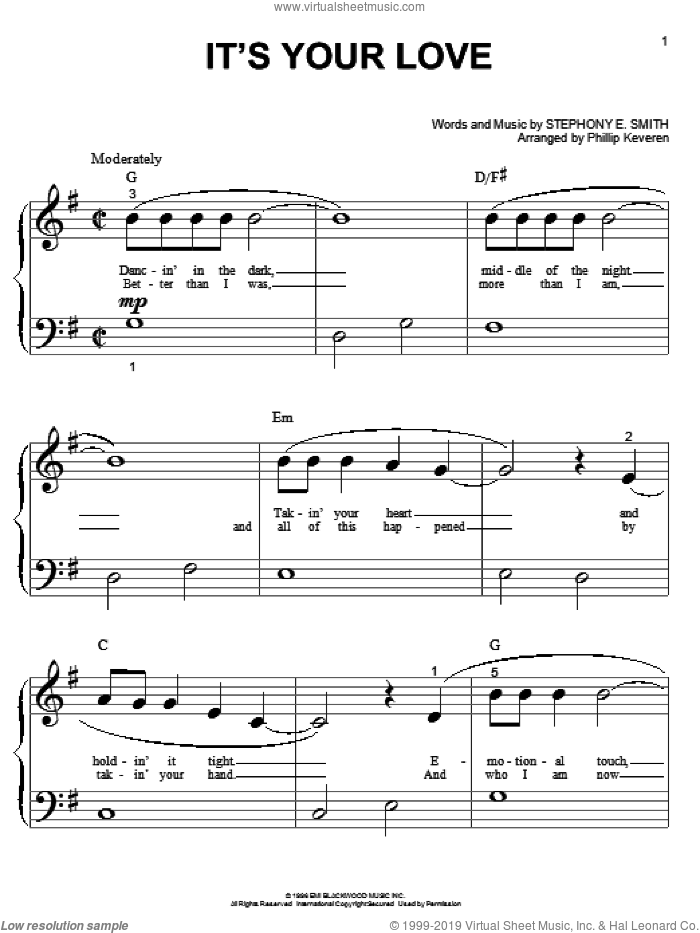 It's Your Love sheet music for piano solo (big note book) by Tim McGraw with Faith Hill, Phillip Keveren, Faith Hill, Tim McGraw and Stephony E. Smith. Score Image Preview.