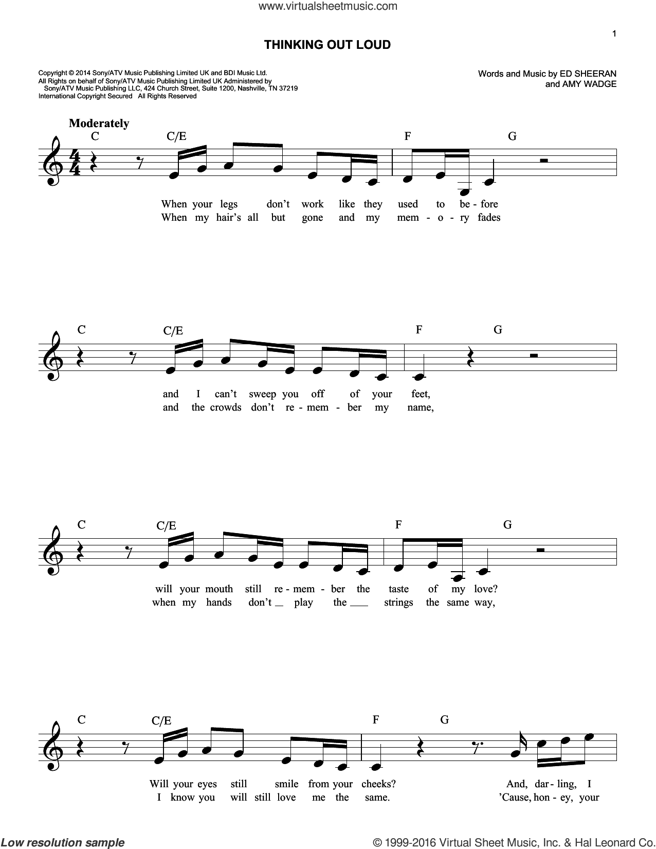 Thinking Out Loud sheet music for voice and other instruments (fake book) by Ed Sheeran and Amy Wadge, wedding score, intermediate skill level