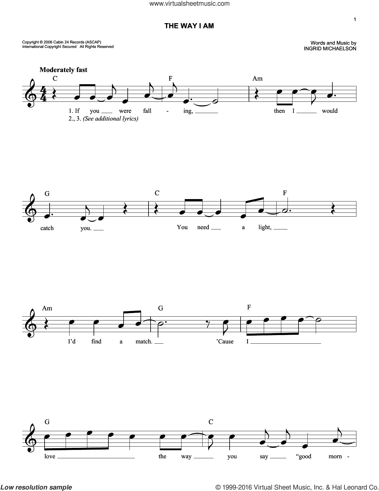 The Way I Am sheet music for voice and other instruments (fake book) by Ingrid Michaelson, wedding score, intermediate