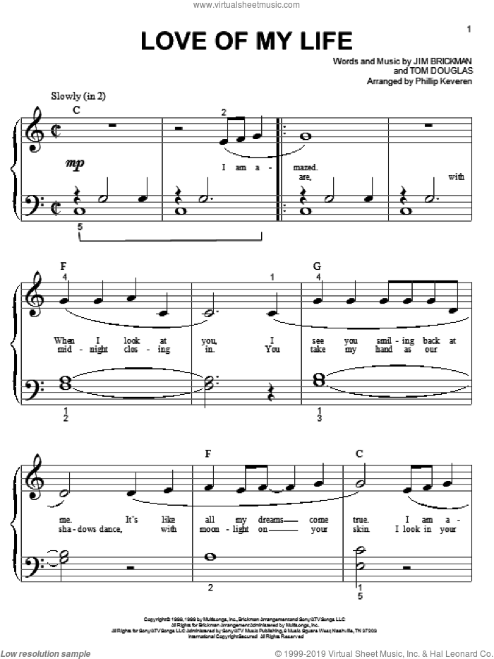 Love Of My Life sheet music for piano solo (big note book) by Tom Douglas, Phillip Keveren and Jim Brickman. Score Image Preview.