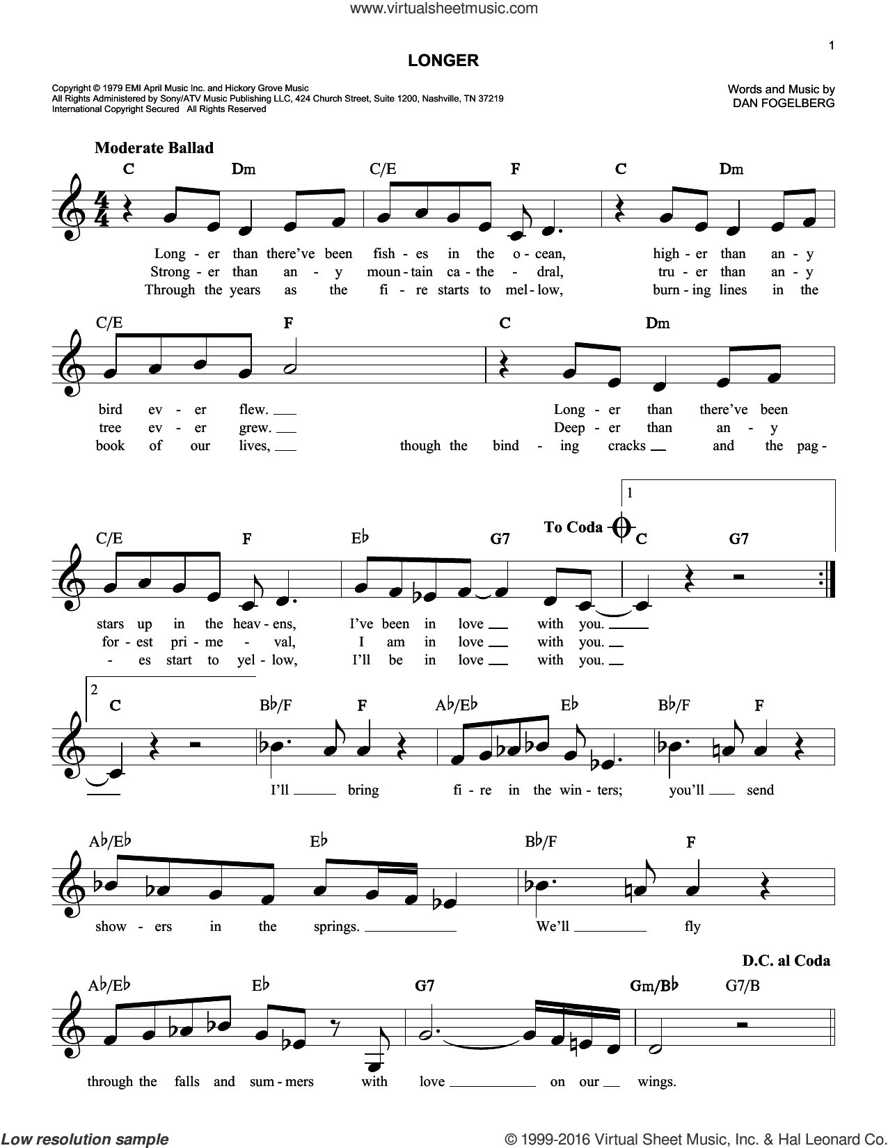 Longer sheet music for voice and other instruments (fake book) by Dan Fogelberg, intermediate. Score Image Preview.