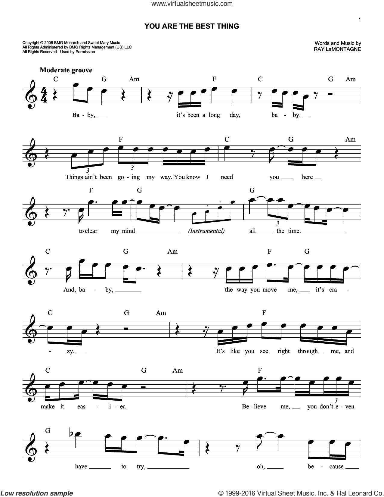 You Are The Best Thing sheet music for voice and other instruments (fake book) by Ray LaMontagne. Score Image Preview.