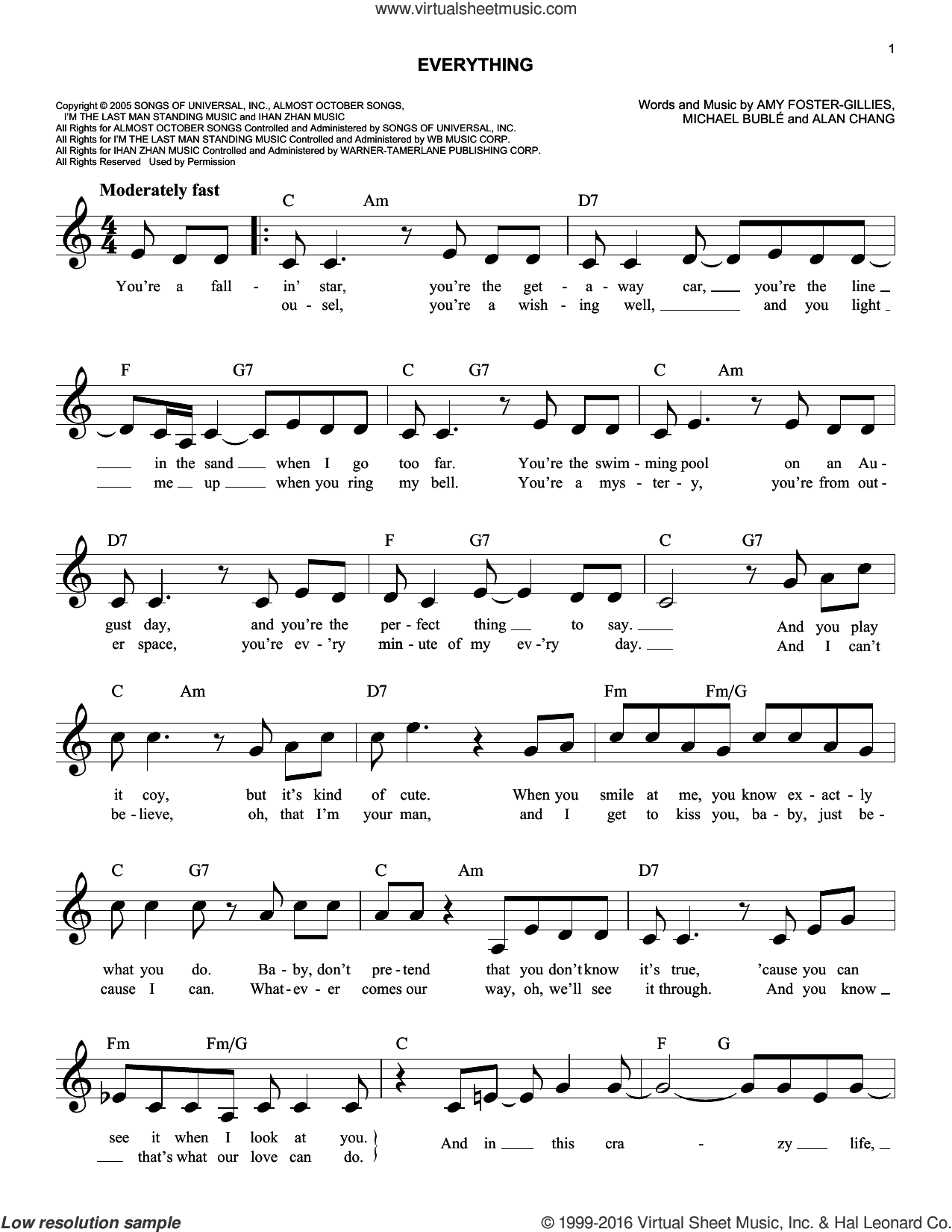 Everything sheet music for voice and other instruments (fake book) by Michael Buble, Alan Chang and Amy Foster-Gillies, intermediate. Score Image Preview.