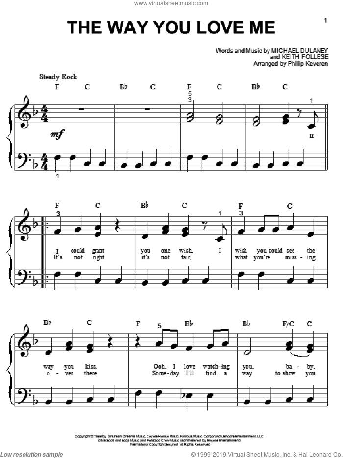 The Way You Love Me sheet music for piano solo (big note book) by Michael Dulaney, Phillip Keveren, Faith Hill and Keith Follese
