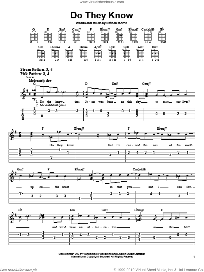Do They Know sheet music for guitar solo (chords) by Nathan Morris