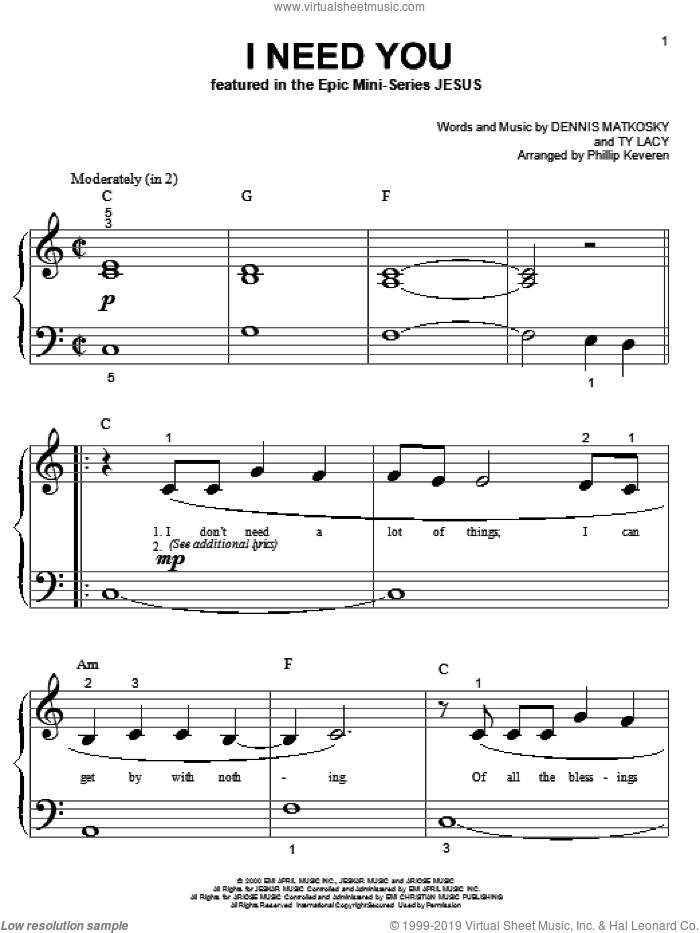 I Need You sheet music for piano solo (big note book) by LeAnn Rimes, Phillip Keveren, Dennis Matkosky and Ty Lacy, easy piano (big note book)