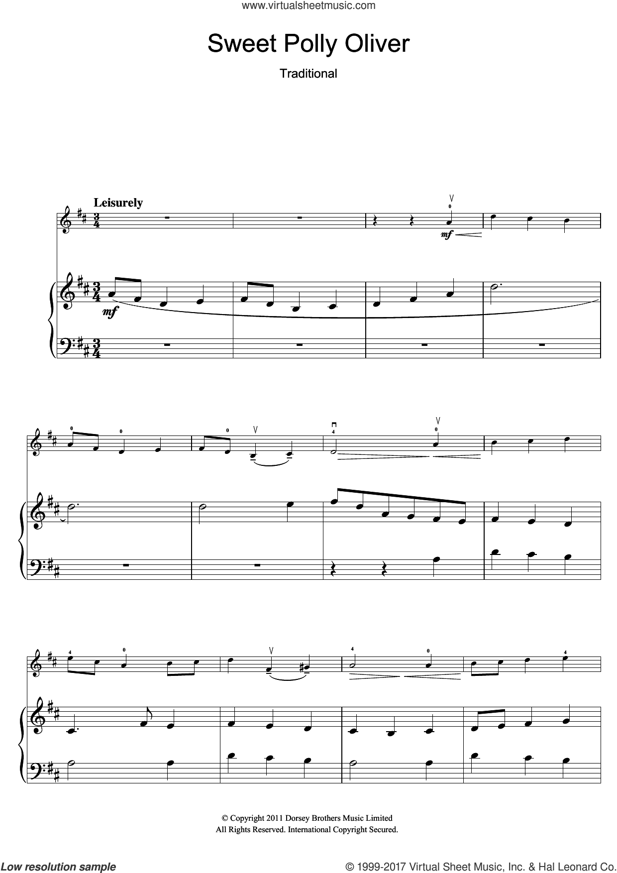 Sweet Polly Oliver sheet music for violin solo, intermediate skill level
