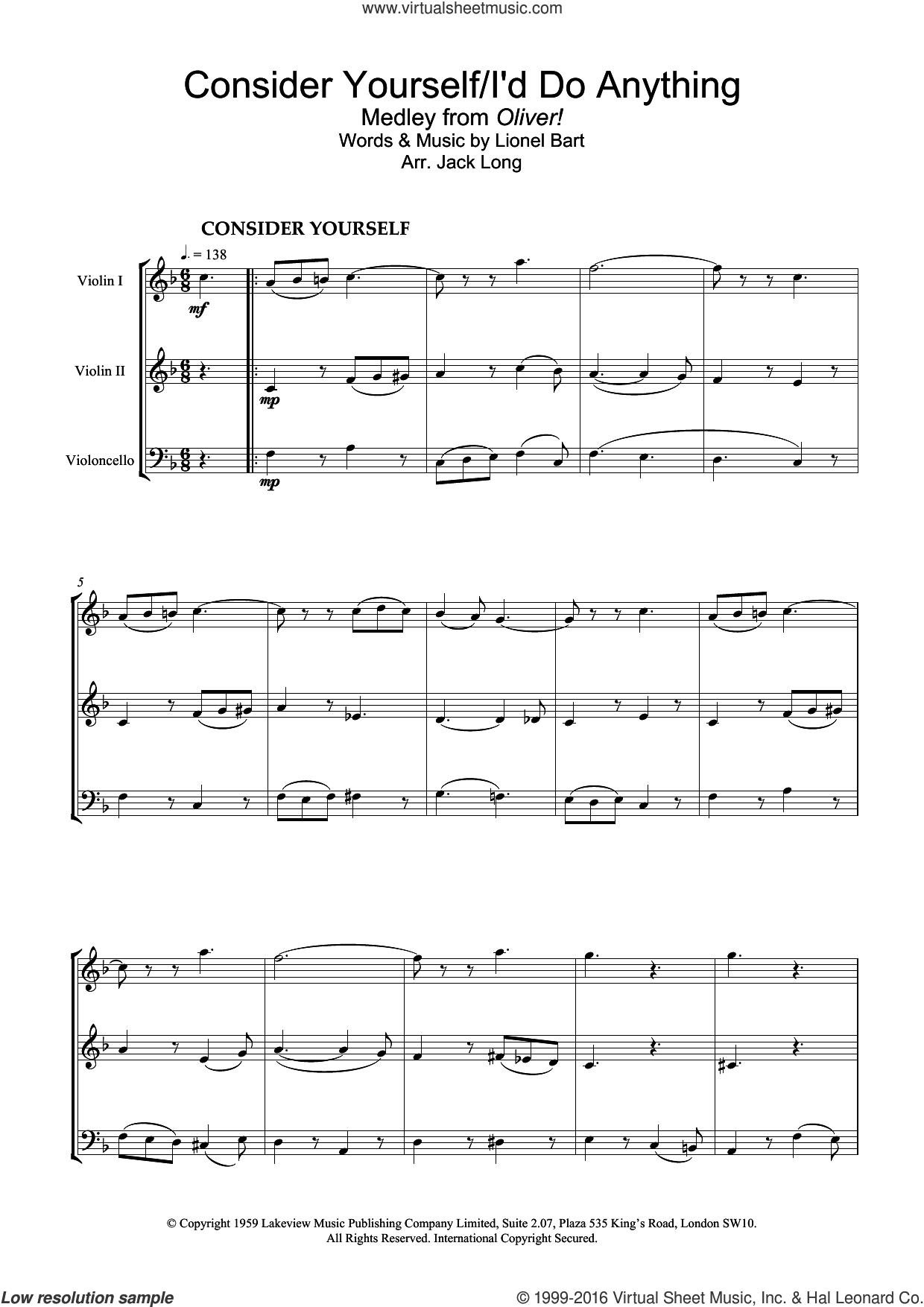 Consider Yourself (from Oliver!) sheet music for violin solo by Lionel Bart, intermediate skill level