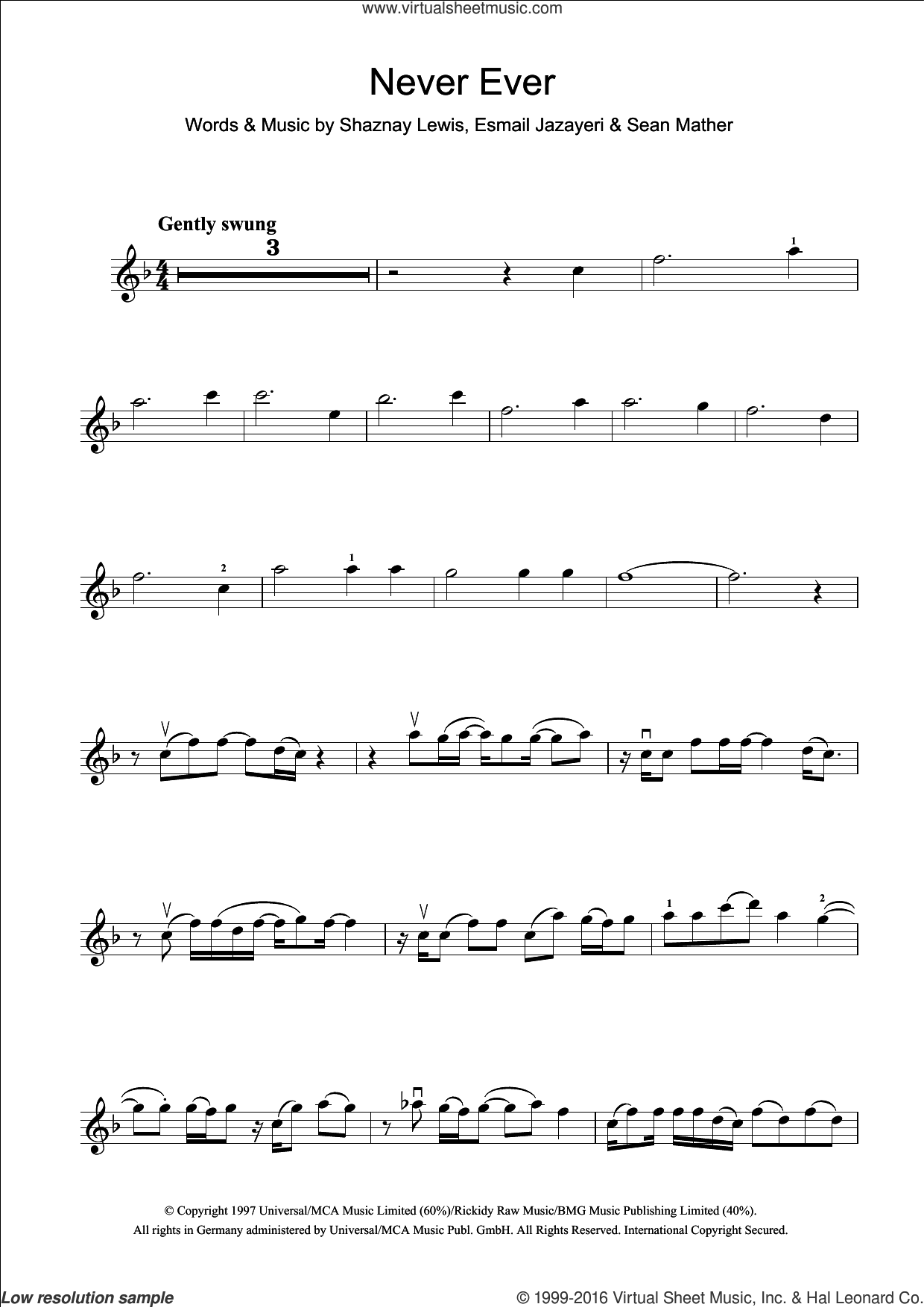 Never Ever sheet music for violin solo by All Saints, intermediate skill level