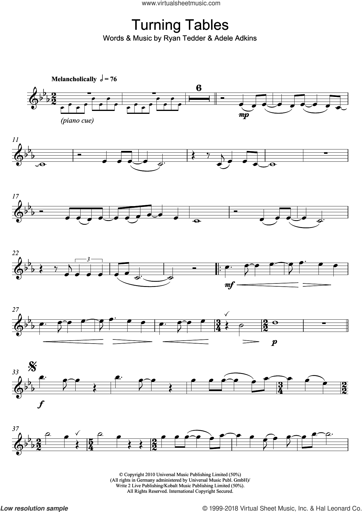 Turning Tables sheet music for flute solo by Adele and Ryan Tedder, intermediate skill level