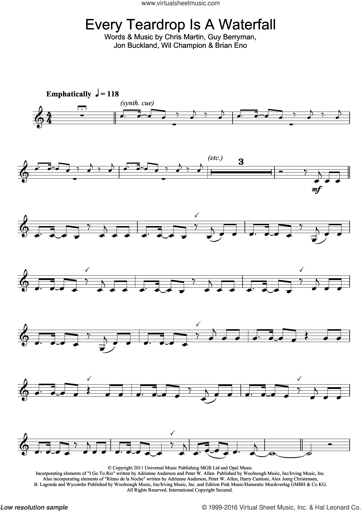 Every Teardrop Is A Waterfall sheet music for clarinet solo by Coldplay, Adrienne Anderson, Brian Eno, Chris Martin, Guy Berryman, Jonny Buckland, Peter Allen and Will Champion, intermediate skill level