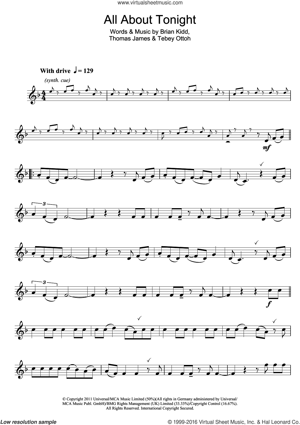 All About Tonight sheet music for clarinet solo by Pixie Lott, Brian Kidd, Tebey Ottoh and Thomas James, intermediate skill level