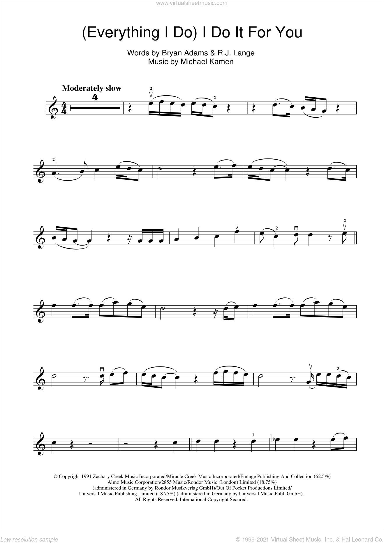 (Everything I Do) I Do It For You sheet music for violin solo by Bryan Adams, Michael Kamen and Robert John Lange, intermediate skill level