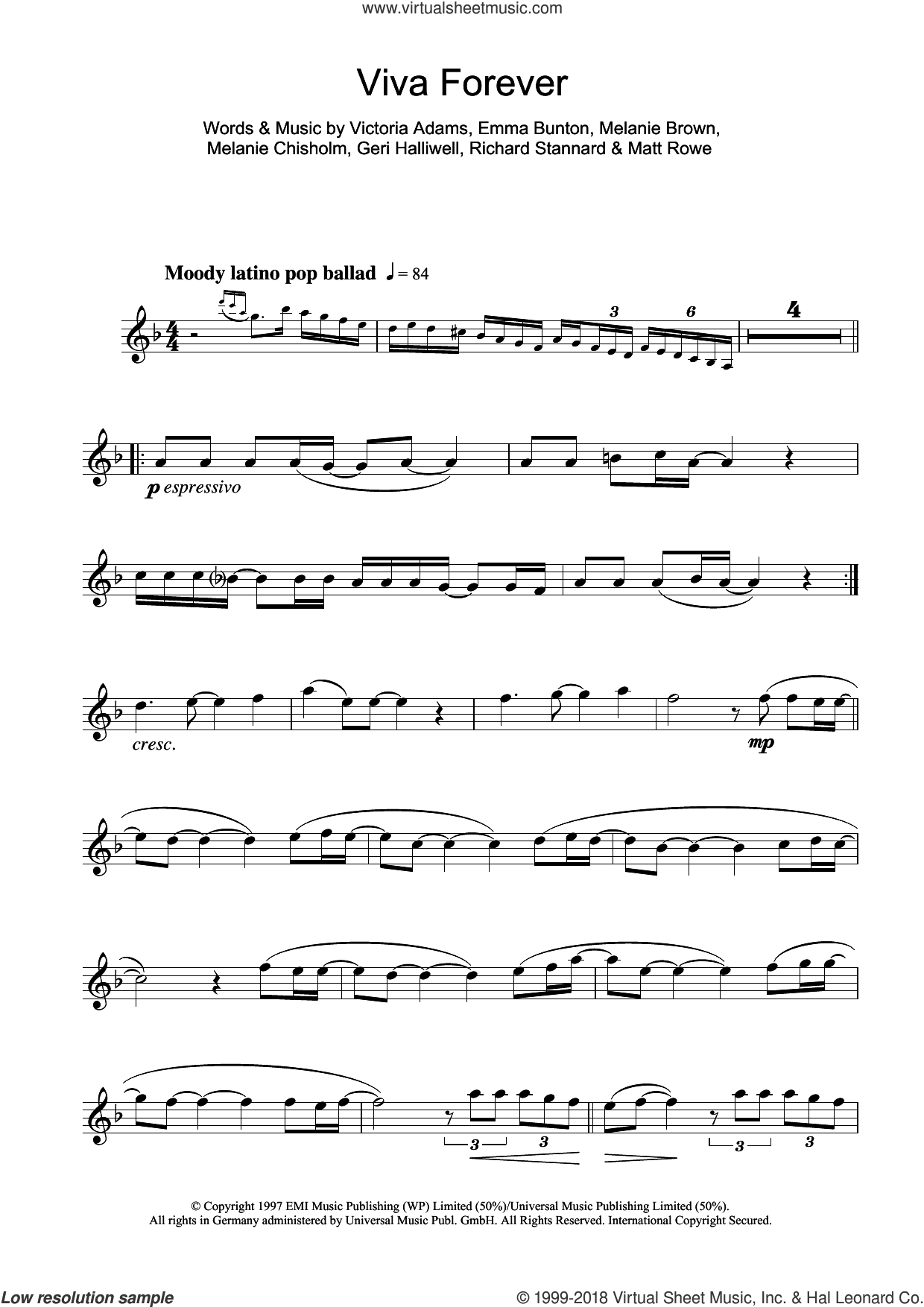 Viva Forever sheet music for flute solo by Spice Girls, Chisholm Melanie, Emma Bunton, Geri Halliwell, Matt Rowe, Melanie Brown, Richard Stannard and Victoria Adams, intermediate