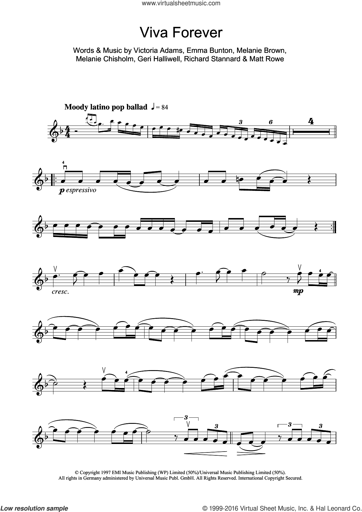Viva Forever sheet music for violin solo by Victoria Adams, Spice Girls, Chisholm Melanie, Emma Bunton, Geri Halliwell and Richard Stannard. Score Image Preview.