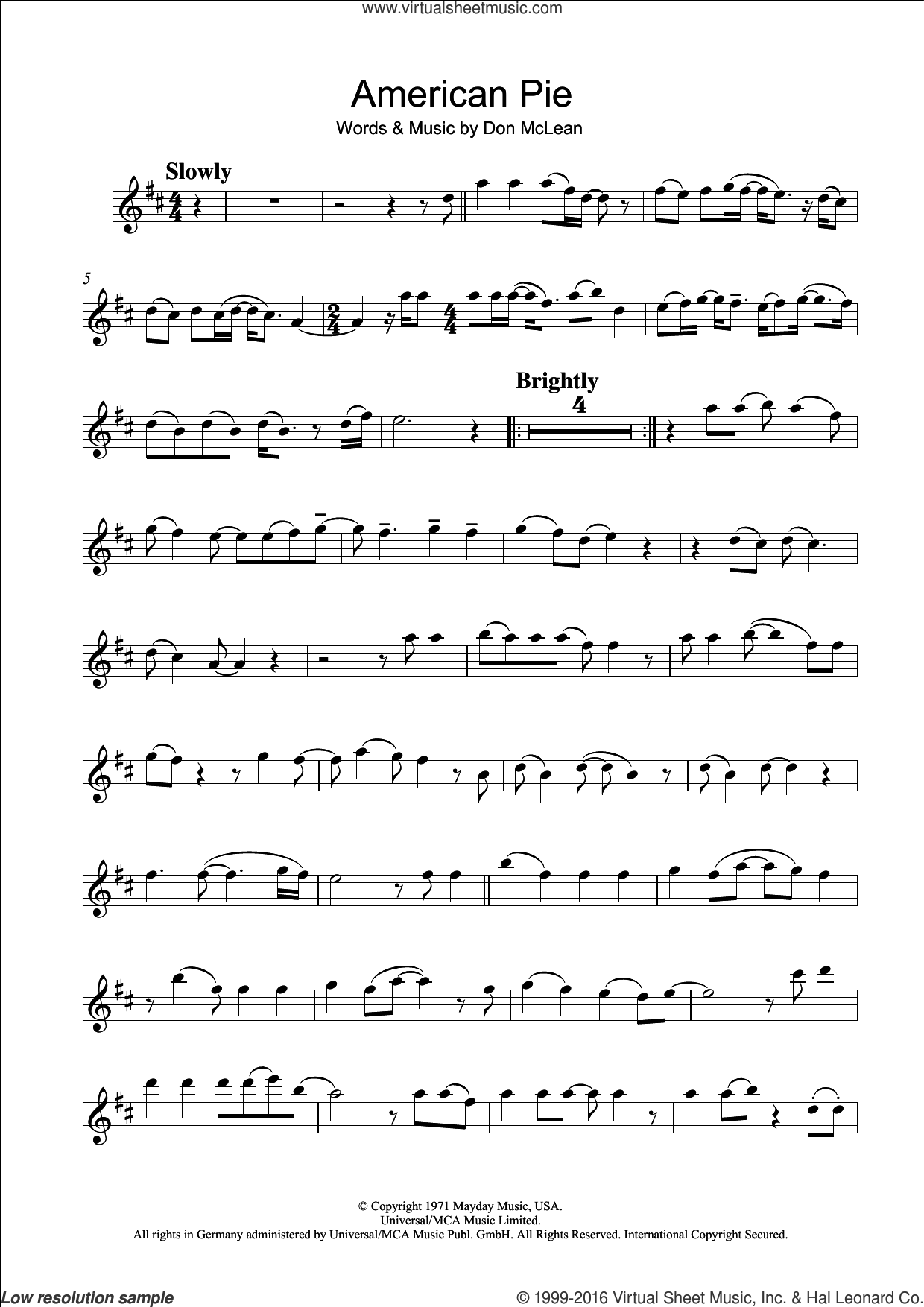 American Pie sheet music for clarinet solo by Don McLean and Madonna, intermediate. Score Image Preview.