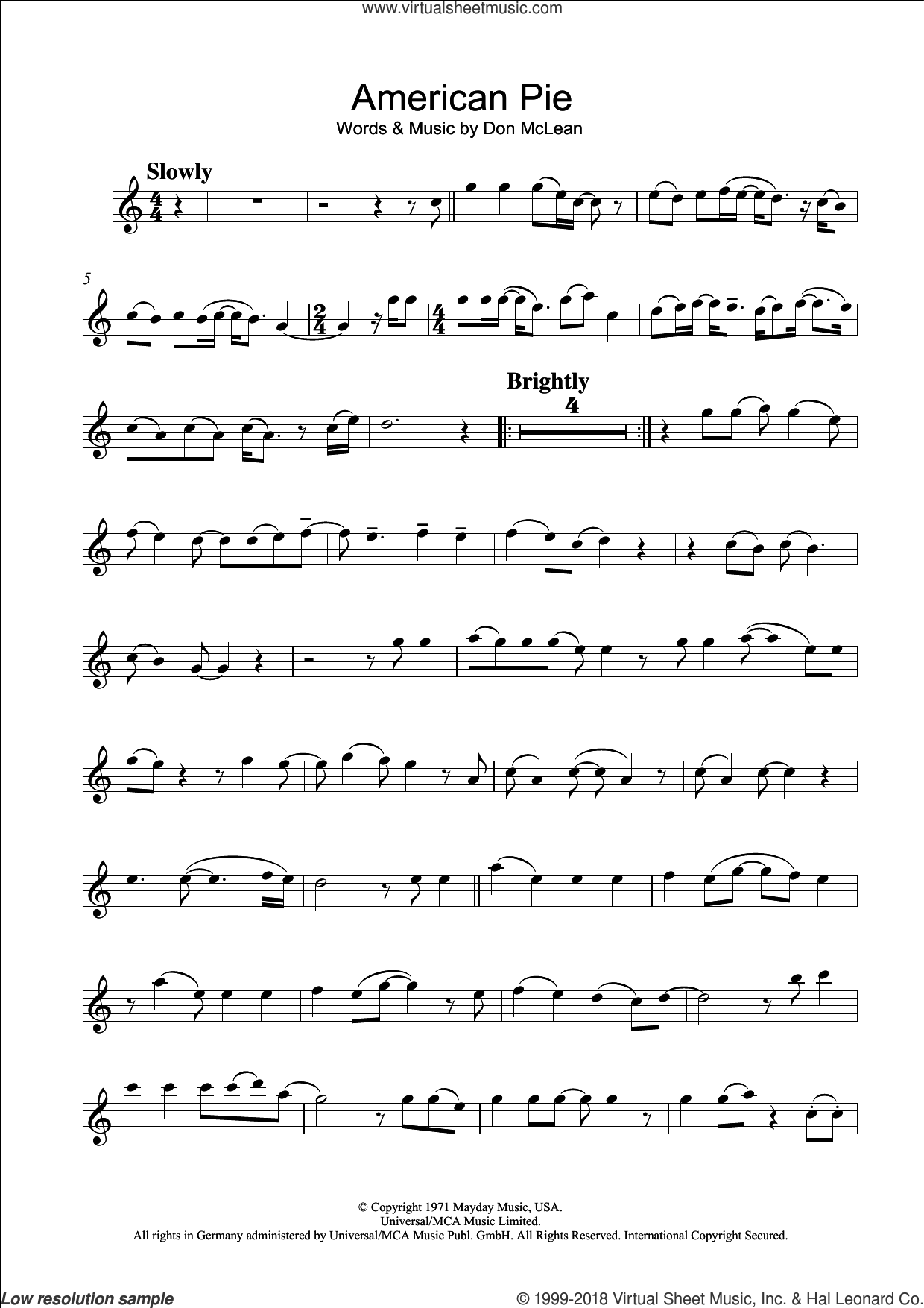 American Pie sheet music for flute solo by Don McLean and Madonna. Score Image Preview.