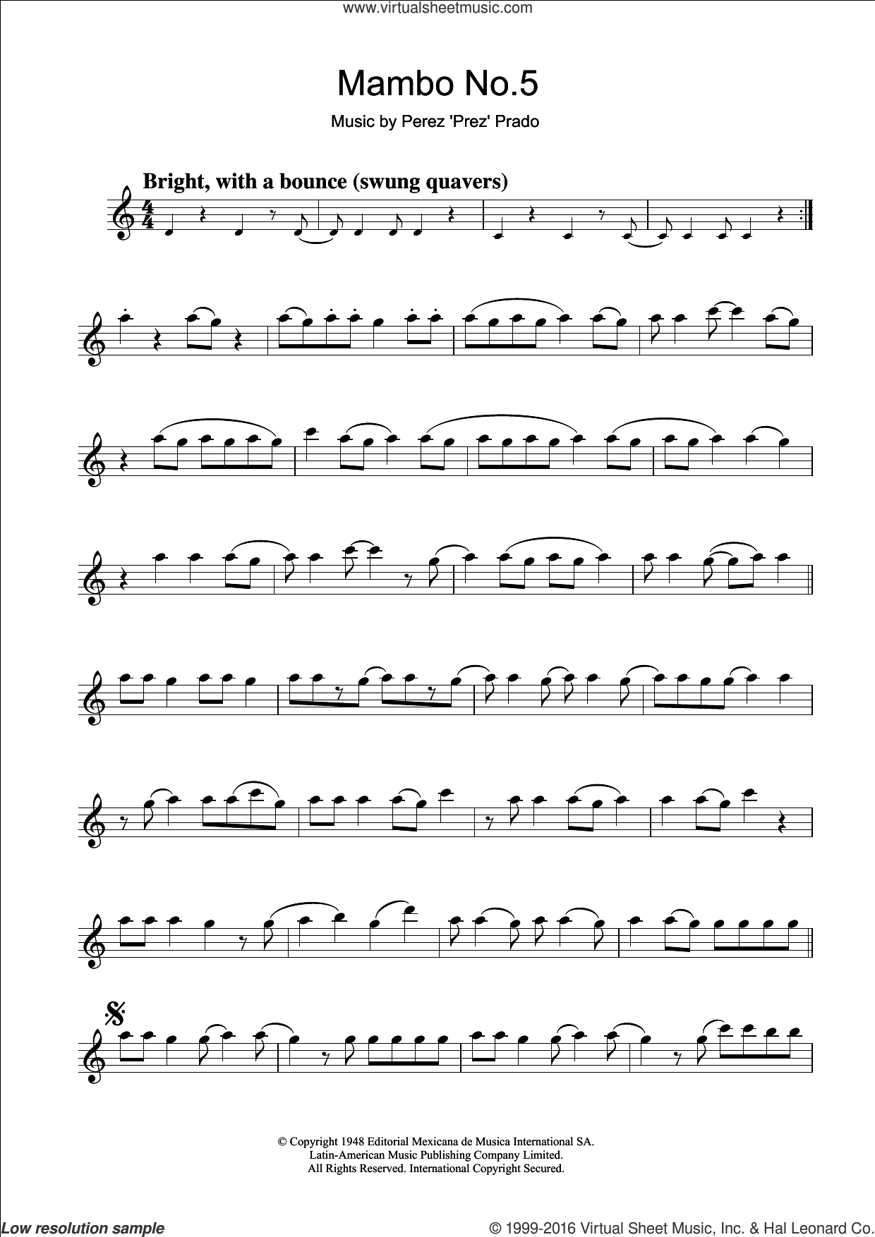 Mambo No. 5 sheet music for clarinet solo by Perez Prado, intermediate skill level