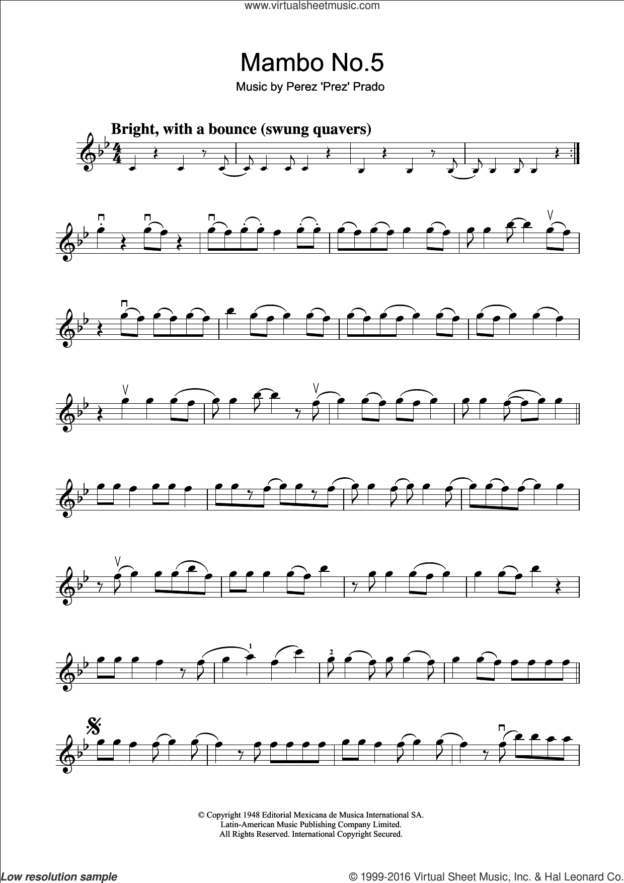 Mambo No. 5 sheet music for violin solo by Perez Prado, intermediate violin. Score Image Preview.