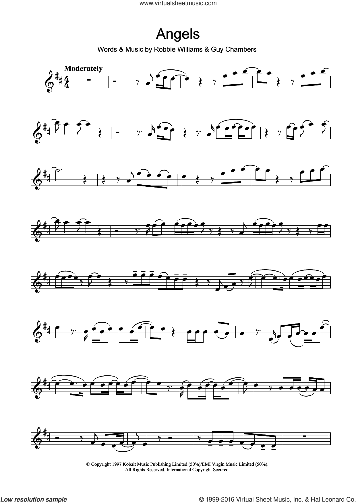 Angels sheet music for clarinet solo by Robbie Williams. Score Image Preview.