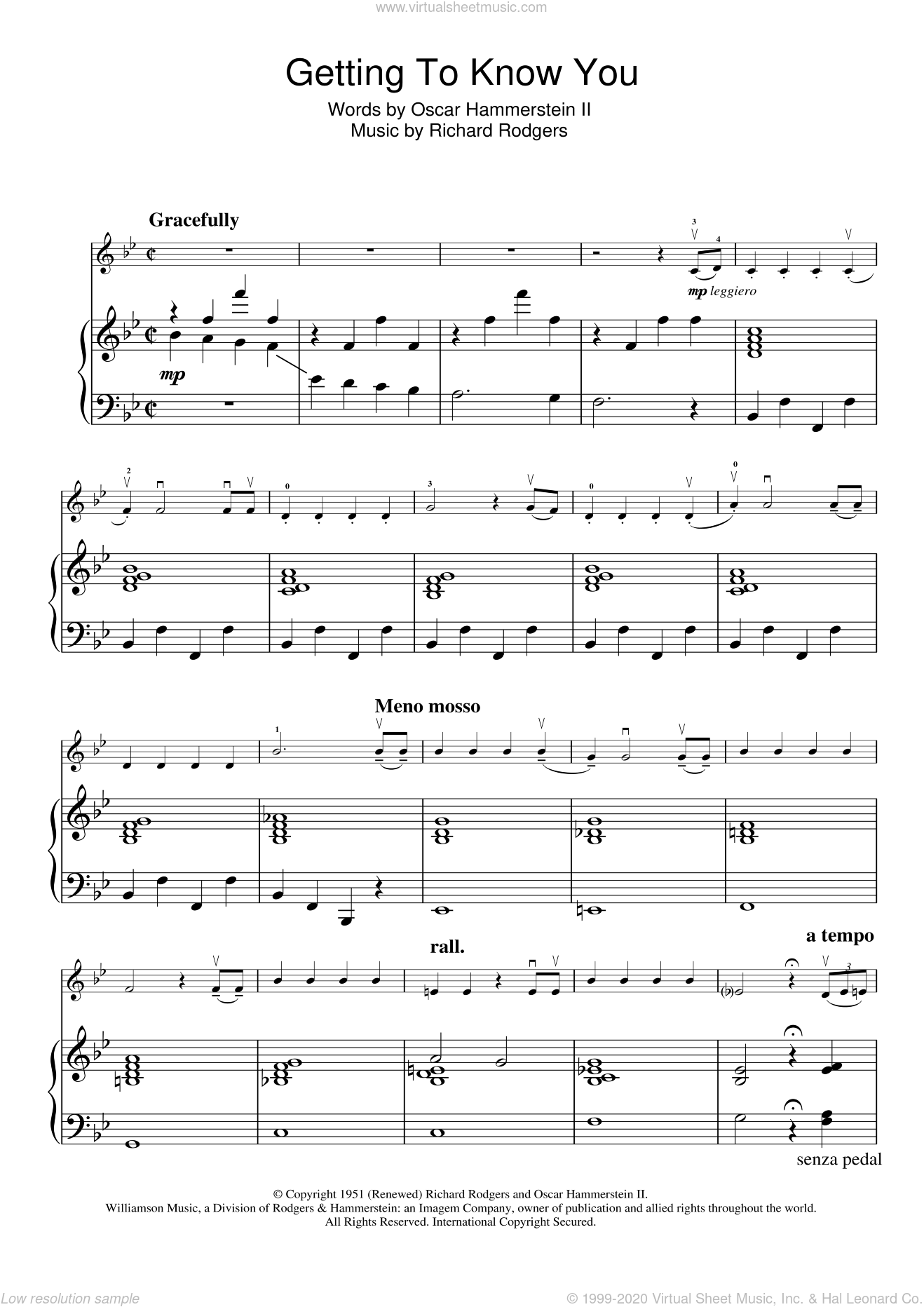 Getting To Know You (from The King And I) sheet music for violin solo by Rodgers & Hammerstein, Richard Rodgers and Oscar II Hammerstein, intermediate skill level
