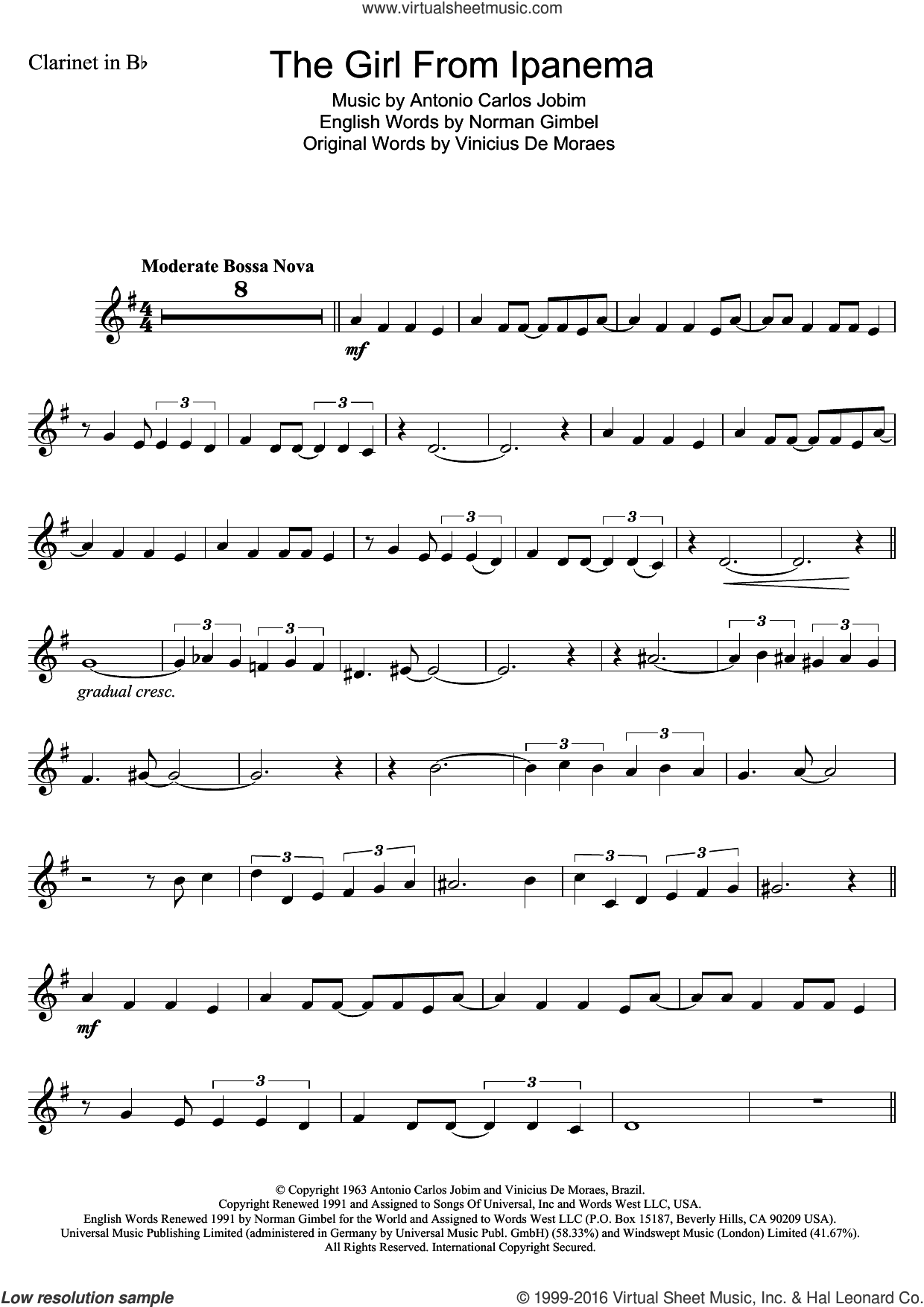 The Girl From Ipanema (Garota De Ipanema) sheet music for clarinet solo by Antonio Carlos Jobim, Norman Gimbel and Vinicius de Moraes. Score Image Preview.