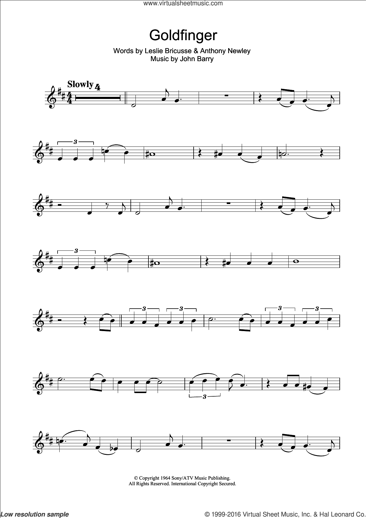 Goldfinger sheet music for clarinet solo by Shirley Bassey, Anthony Newley, John Barry and Leslie Bricusse, intermediate skill level