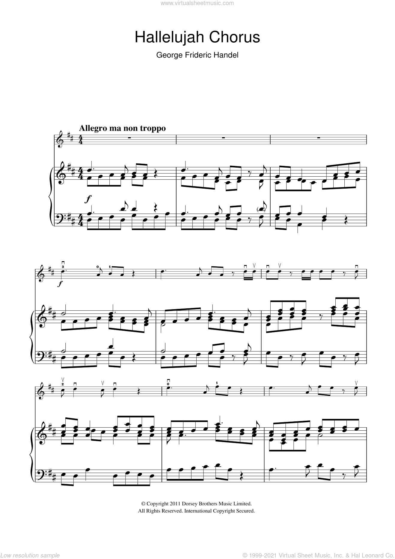 Hallelujah Chorus (from The Messiah) sheet music for violin solo by George Frideric Handel. Score Image Preview.