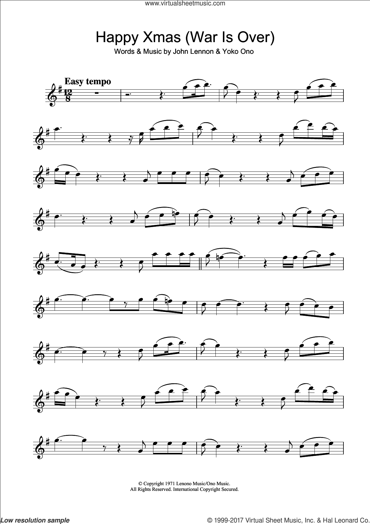 Happy Xmas (War Is Over) sheet music for clarinet solo by John Lennon and Yoko Ono, intermediate skill level