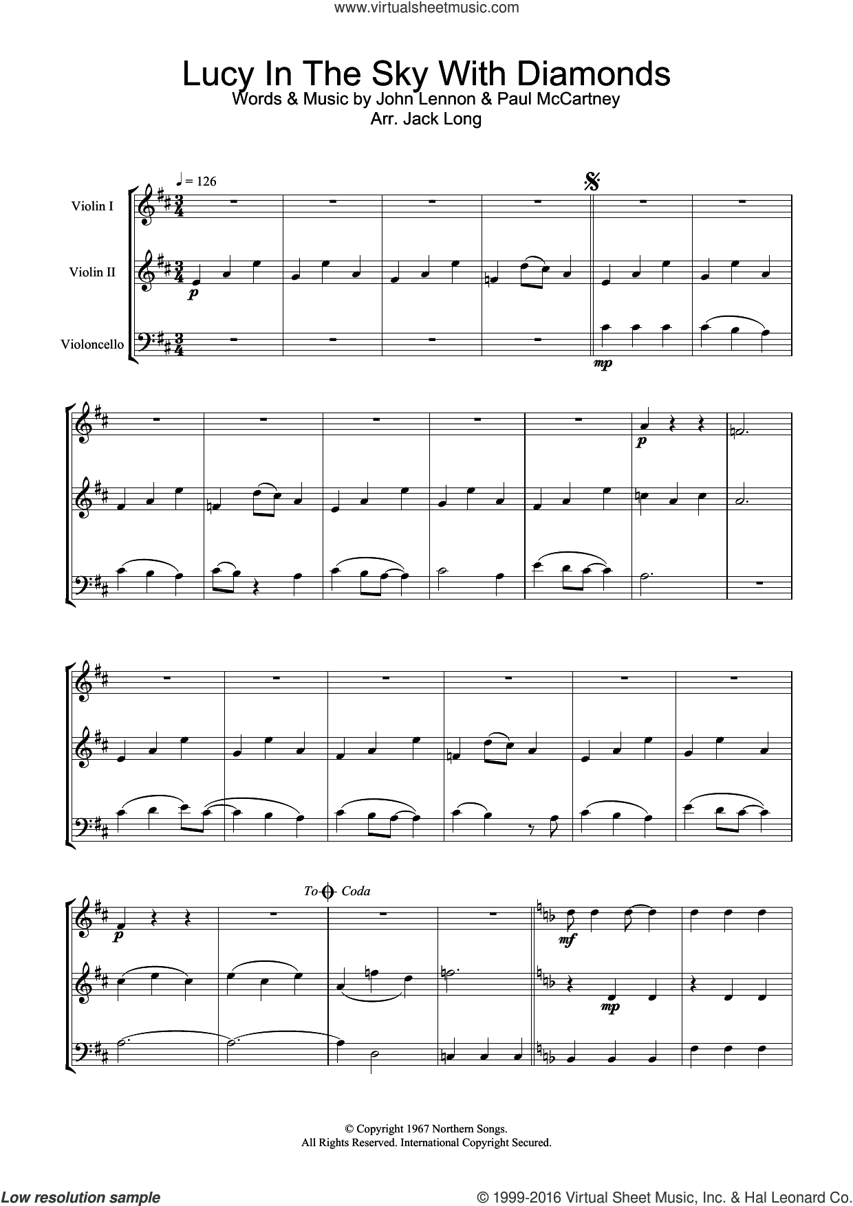 Lucy In The Sky With Diamonds sheet music for violin solo by The Beatles, John Lennon and Paul McCartney, intermediate skill level