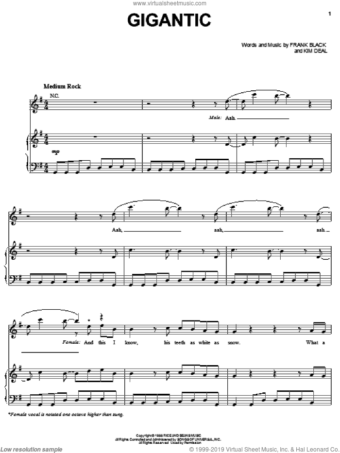 Gigantic sheet music for voice, piano or guitar by Pixies, Francis Black and Kim Deal, intermediate skill level