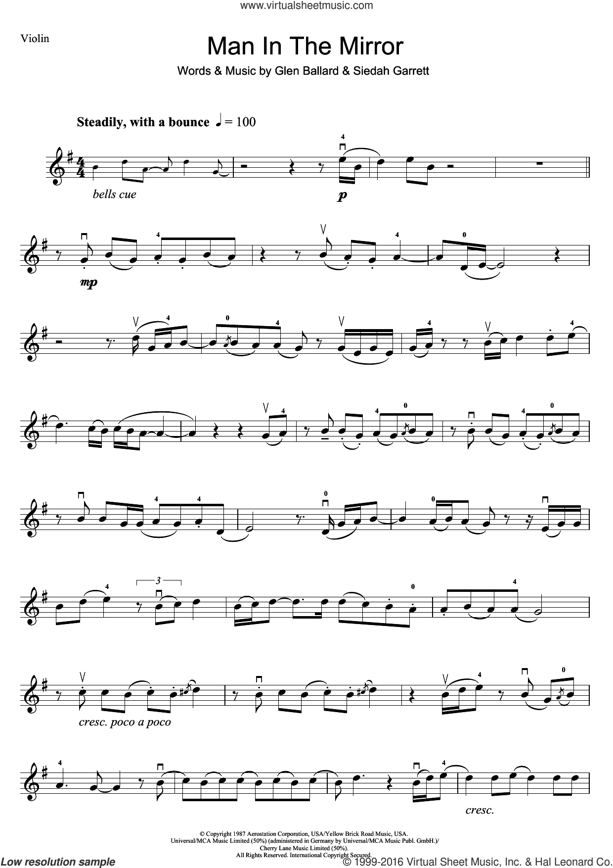 Man In The Mirror sheet music for violin solo by Siedah Garrett, Michael Jackson and Glen Ballard. Score Image Preview.