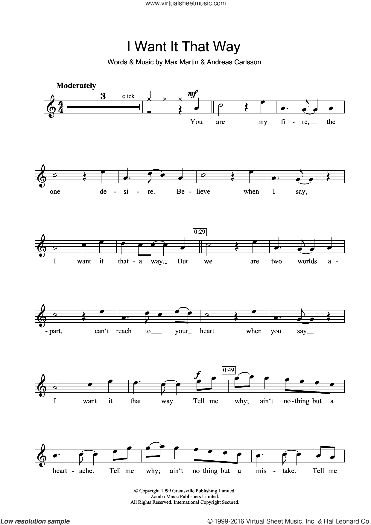 I Want It That Way sheet music for clarinet solo by Backstreet Boys, Andreas Carlsson and Max Martin, intermediate skill level