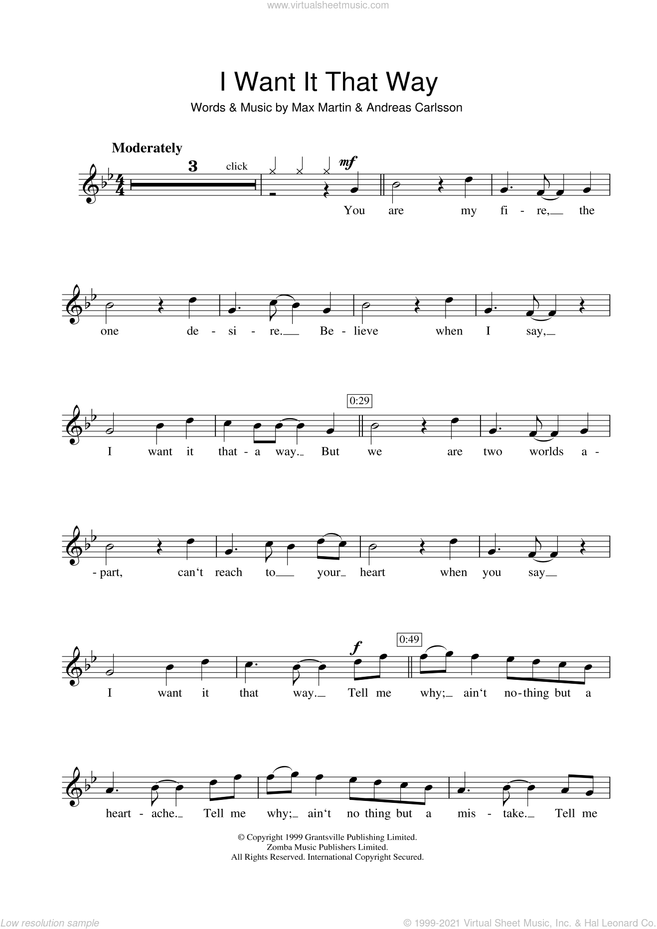 I Want It That Way sheet music for flute solo by Backstreet Boys, Andreas Carlsson and Max Martin, intermediate