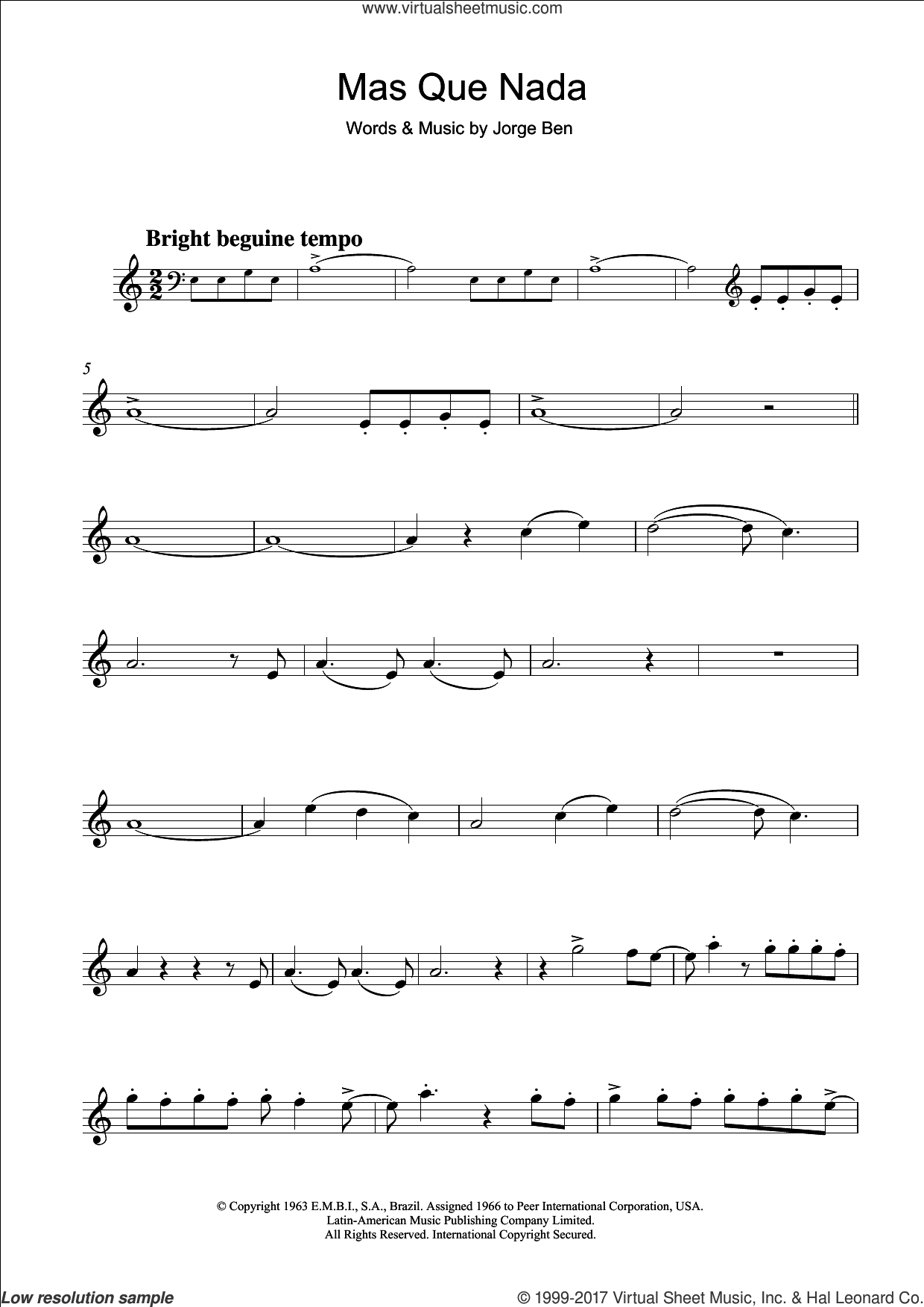 Mas Que Nada (Say No More) sheet music for clarinet solo by Jorge Ben, intermediate. Score Image Preview.