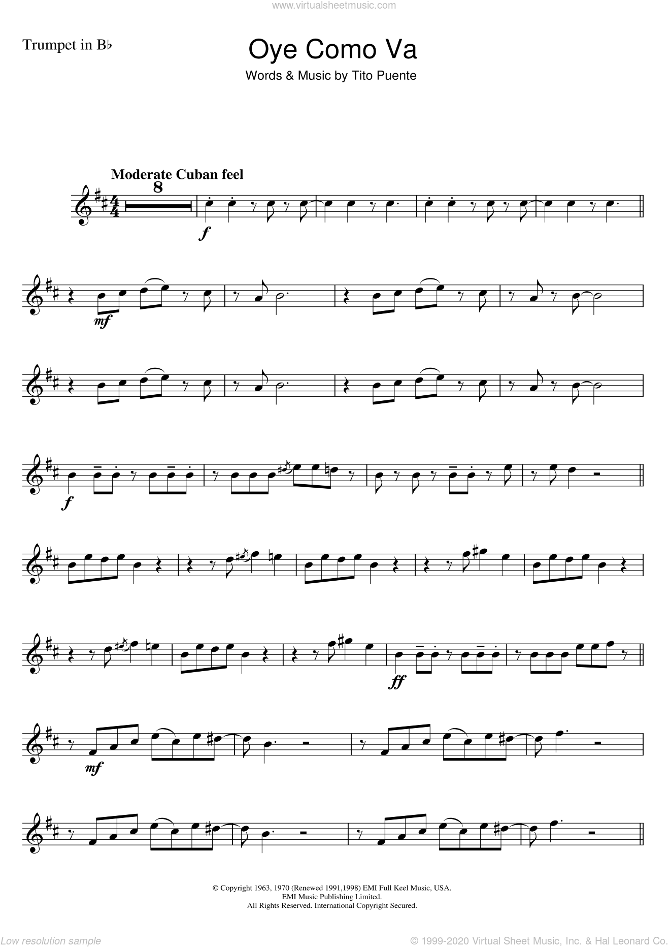 Oye Como Va sheet music for trumpet solo by Tito Puente and Carlos Santana, intermediate. Score Image Preview.