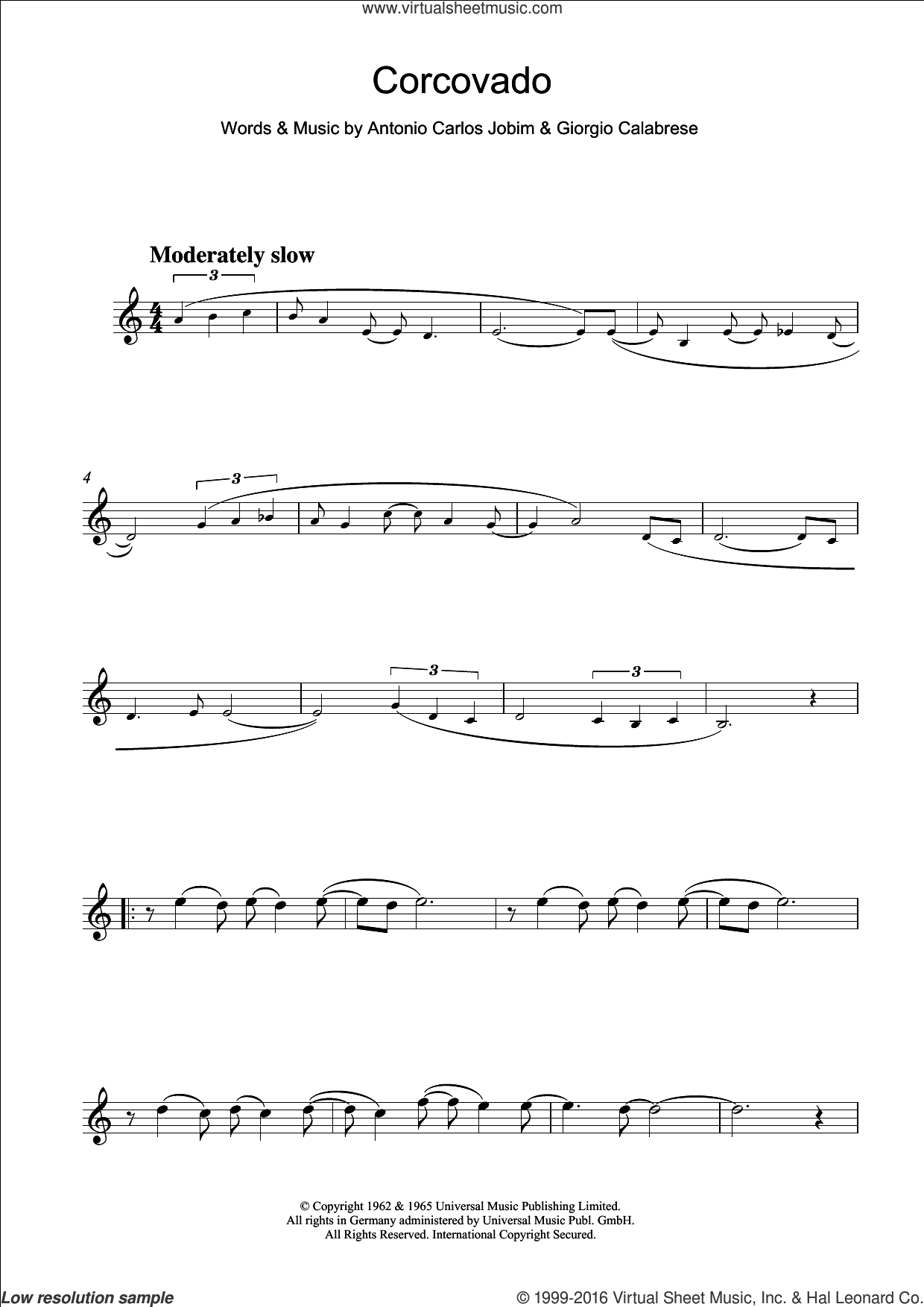 Corcovado (Quiet Nights Of Quiet Stars) sheet music for flute solo by Giorgio Calabrese and Antonio Carlos Jobim. Score Image Preview.